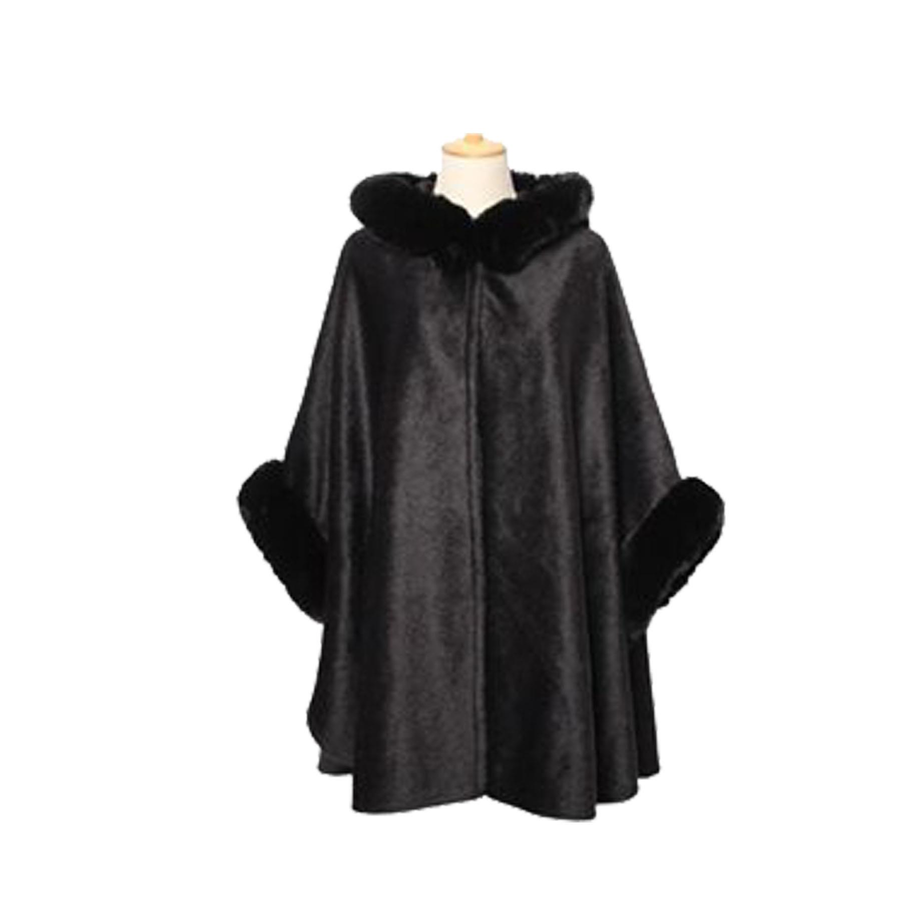 New-Synthetic-Fur-Trimming-Hooded-Collared-Women-s-Autumn-Winter-Poncho thumbnail 7