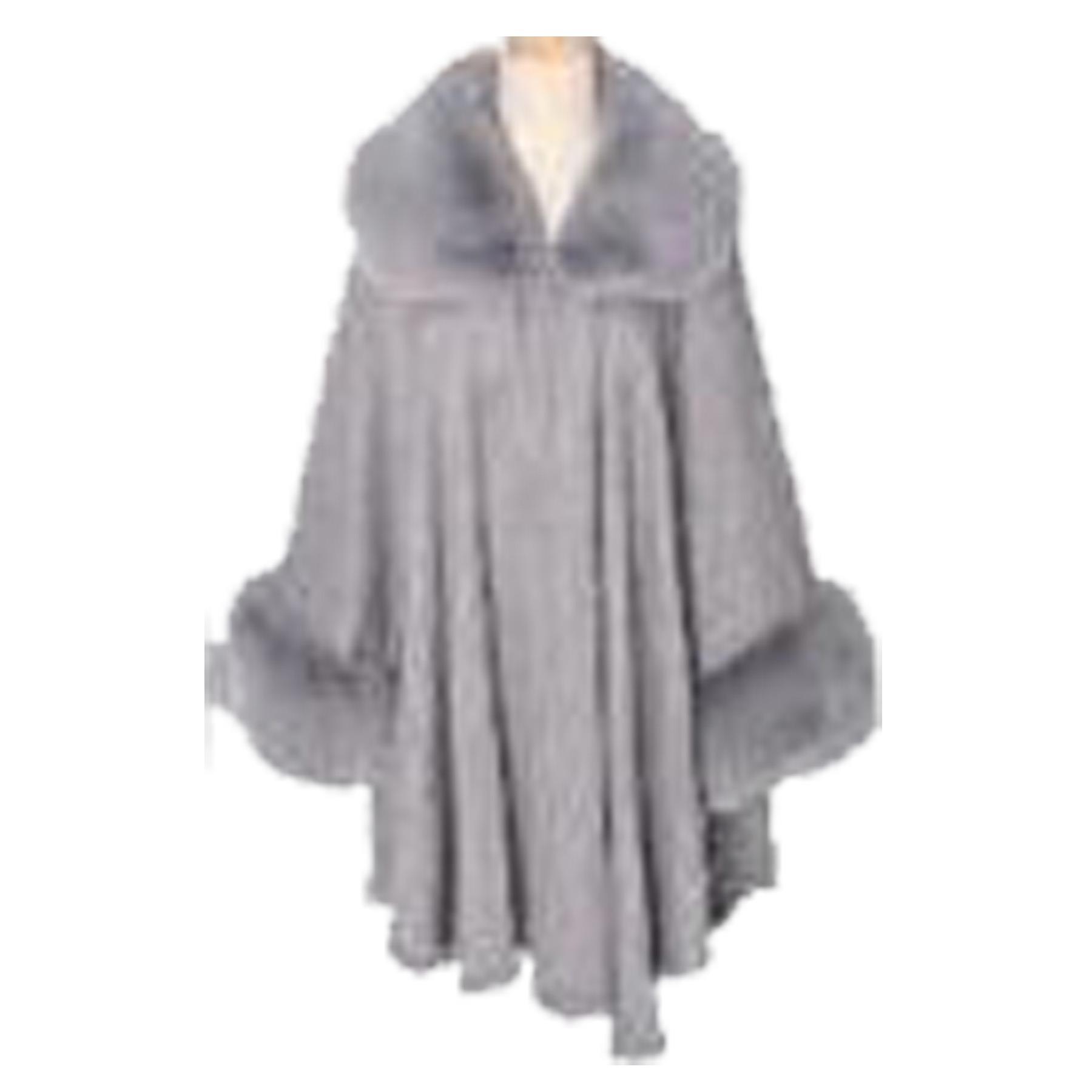 New-Ladies-Faux-Fur-Collar-Cuffs-Long-Sleeve-Winter-Poncho-Cardigan thumbnail 8