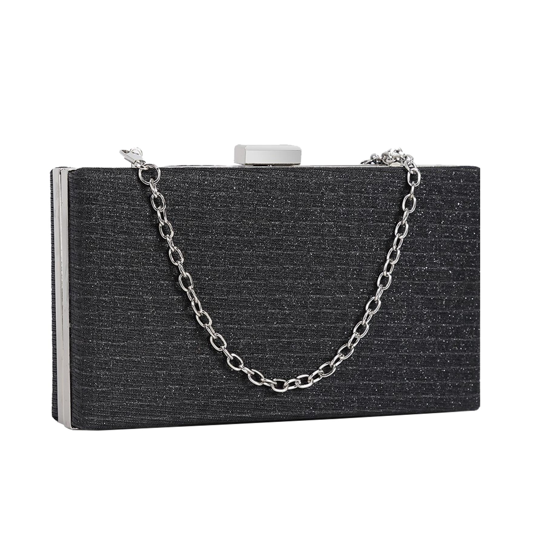 New-Sparkly-Shimmer-Glitter-Chain-Ladies-Hard-Compact-Bridal-Clutch-Bag-Purse thumbnail 3