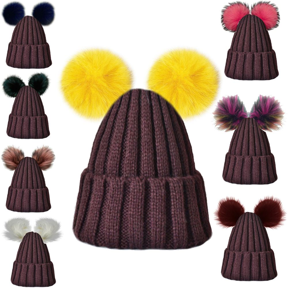 LADIES-GIRLS-NEW-TRENDY-CUSTOMIZABLE-KNITTED-TWO-FAUX-FUR-POM-POM-BEANIE-HAT