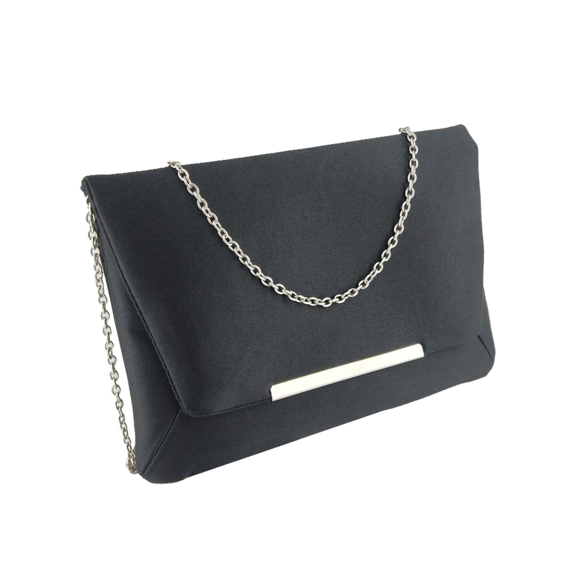 New-Ladies-Satin-Envelope-Metallic-Trim-Bridal-Wedding-Prom-Clutch-Bag thumbnail 3