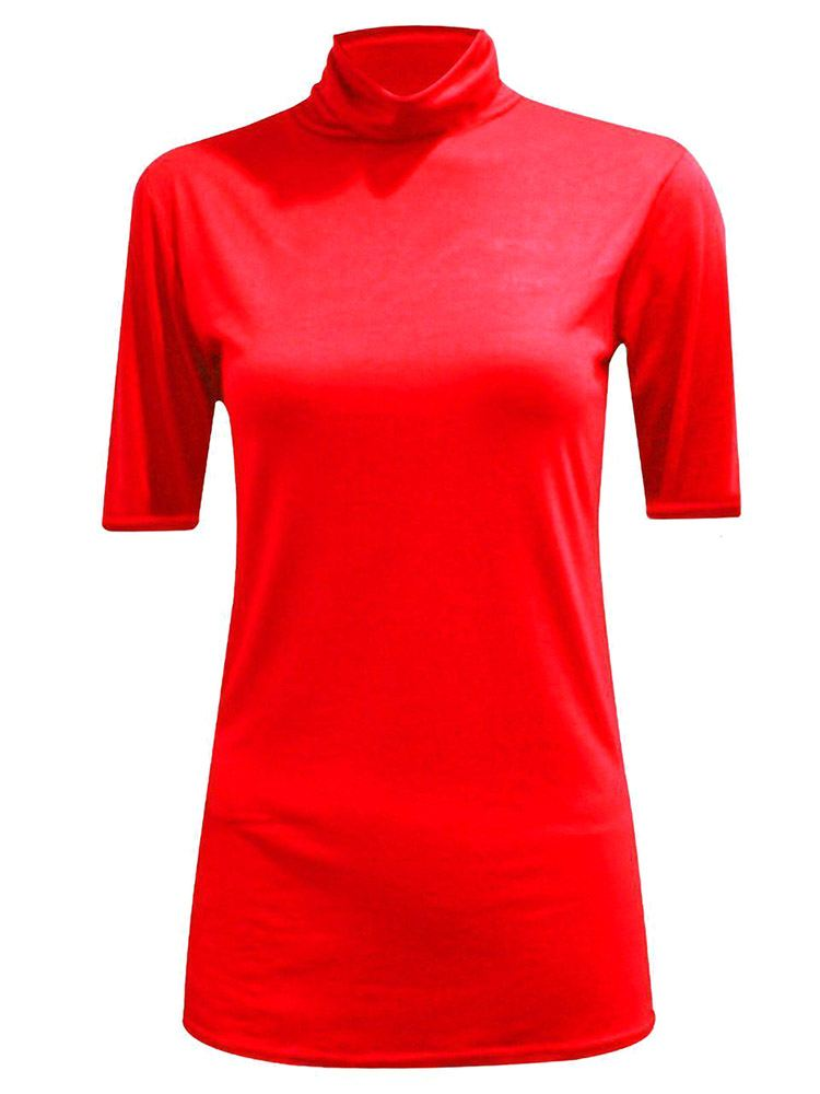 New-Women-s-Half-Sleeve-Plain-Polo-Roll-Neck-Top-Blouse-UK-8-26 thumbnail 16
