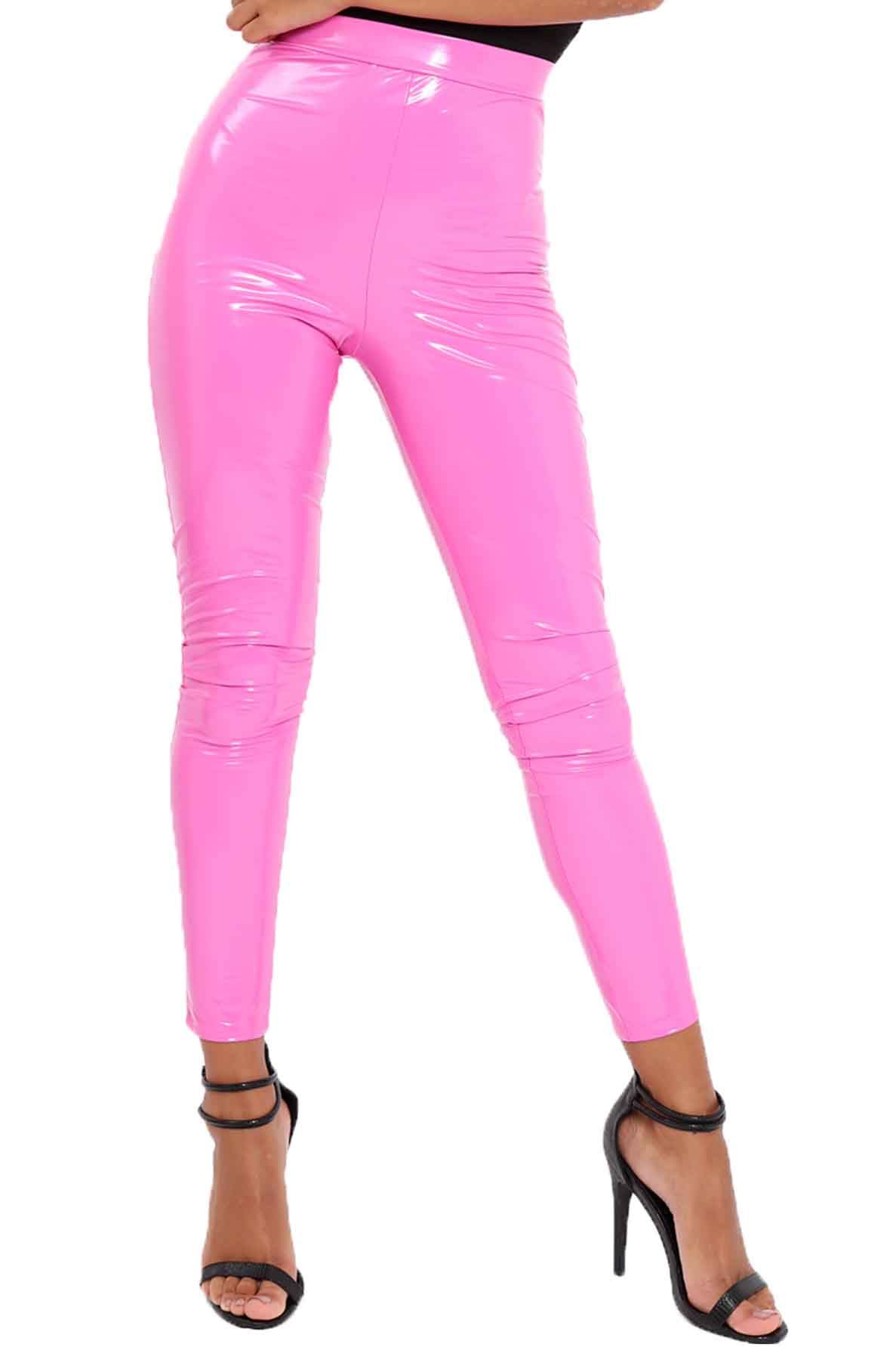 1ca1d3feda New Women's PVC Vinyl Neon Fashion Trendy Leggings Pants UK 8-26 | eBay