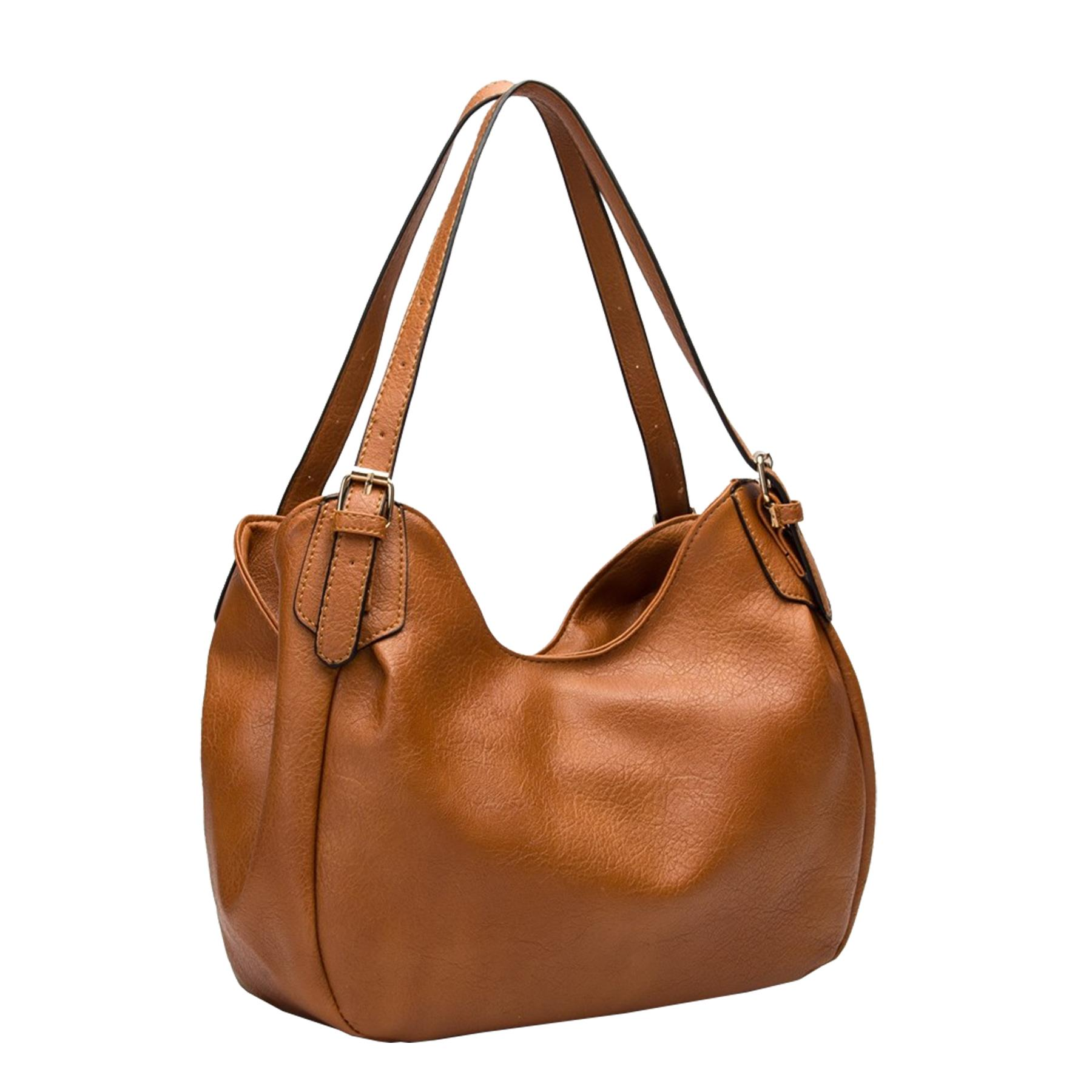 New-Ladies-Buckled-Straps-Two-Toned-Faux-Leather-Slouchy-Shoulder-Bag thumbnail 15