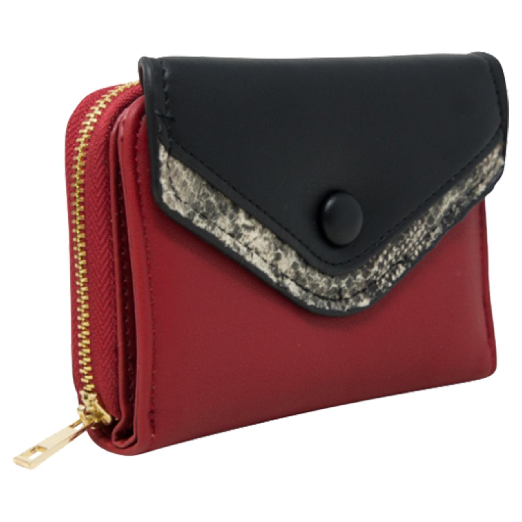 New-Ladies-Multicoloured-Envelope-Faux-Leather-Reptile-Detail-Purse thumbnail 27