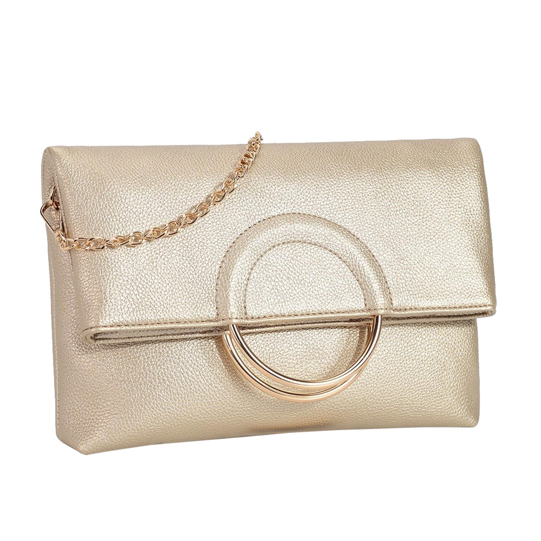 New-Women-s-Metallic-Ring-Top-Handles-Faux-Leather-Evening-Clutch-Bag thumbnail 9