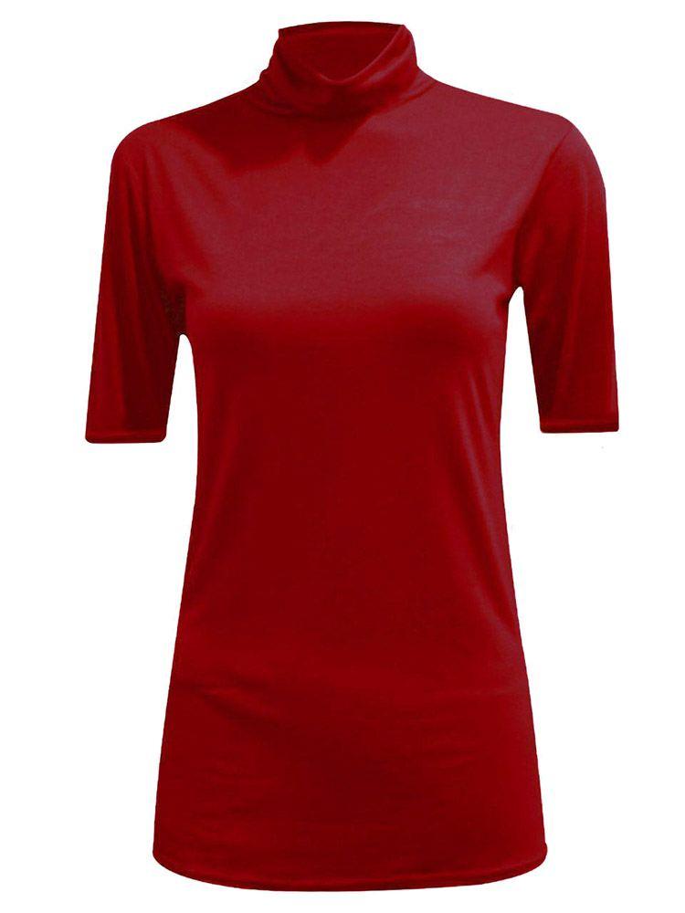 New-Women-s-Half-Sleeve-Plain-Polo-Roll-Neck-Top-Blouse-UK-8-26 thumbnail 22