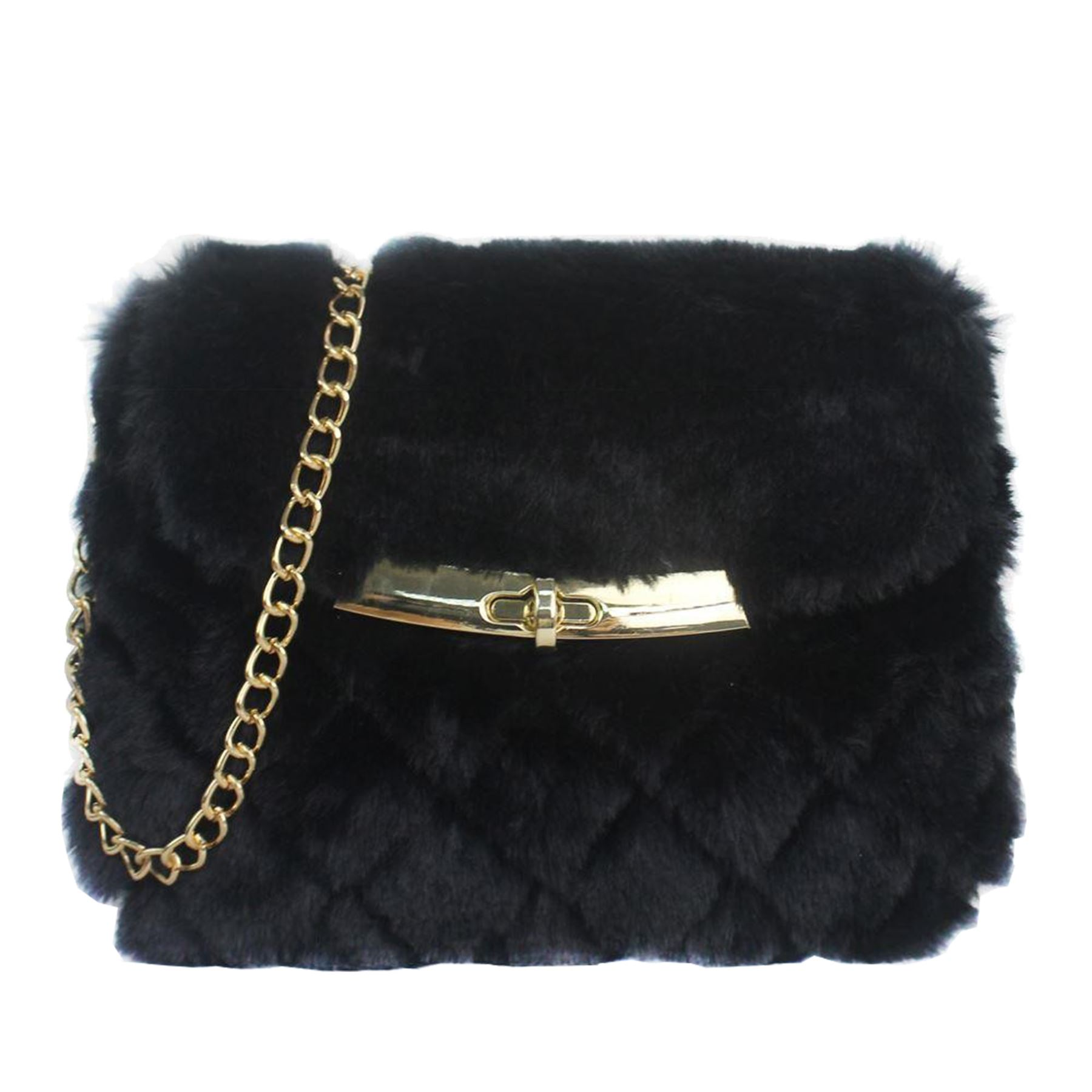 e65d8d1a3d5 Details about New Stylish Ladies Faux Fur Quilted Gold Tone Crossbody Chain  Bag