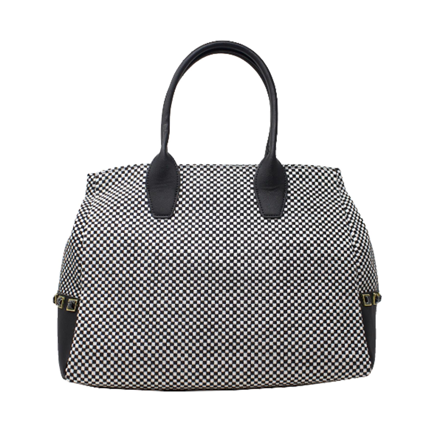 New-Women-s-Small-Check-Pattern-Studded-Design-Tote-Bag-Handbag thumbnail 6