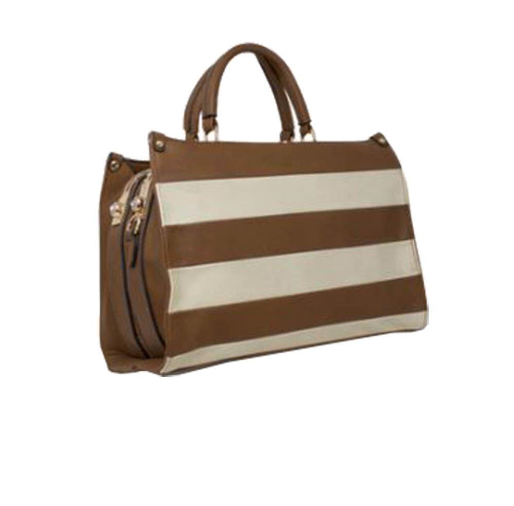 New Design de Faux Ladies mano Elegante Leather Stripe marr bolso Negro qw6F1fq