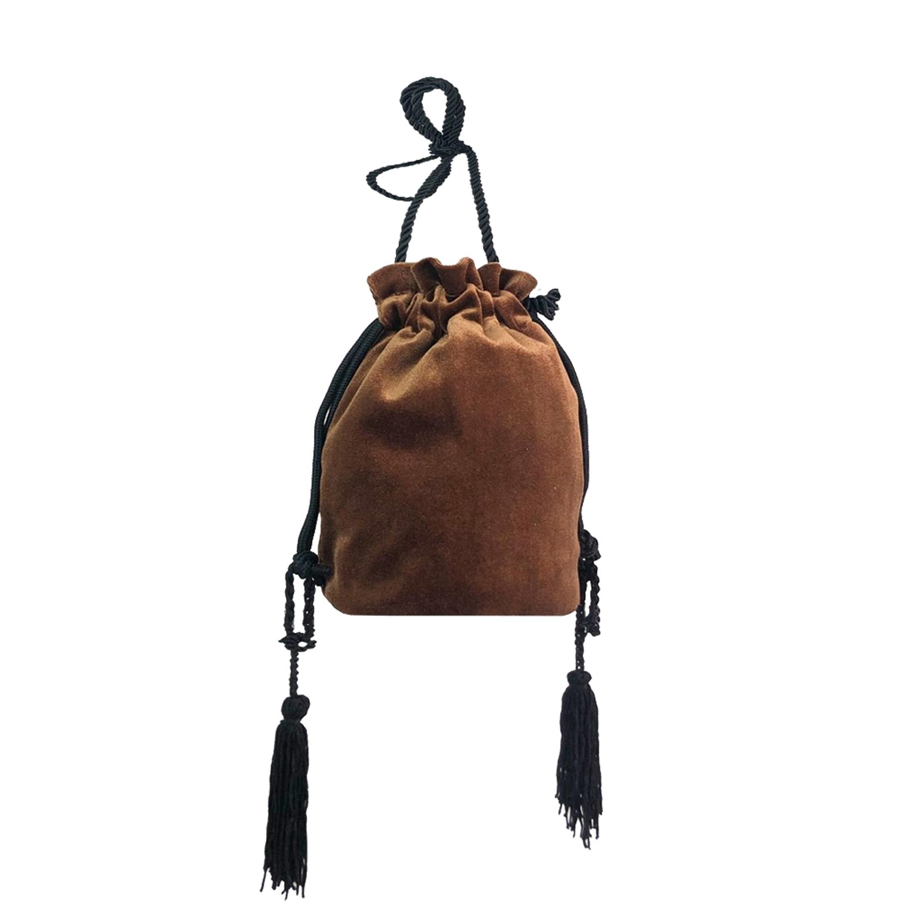 New-Women-s-Drawstring-Velvet-Velour-Tassels-Rope-Strap-Retro-Pouch-Bag thumbnail 3