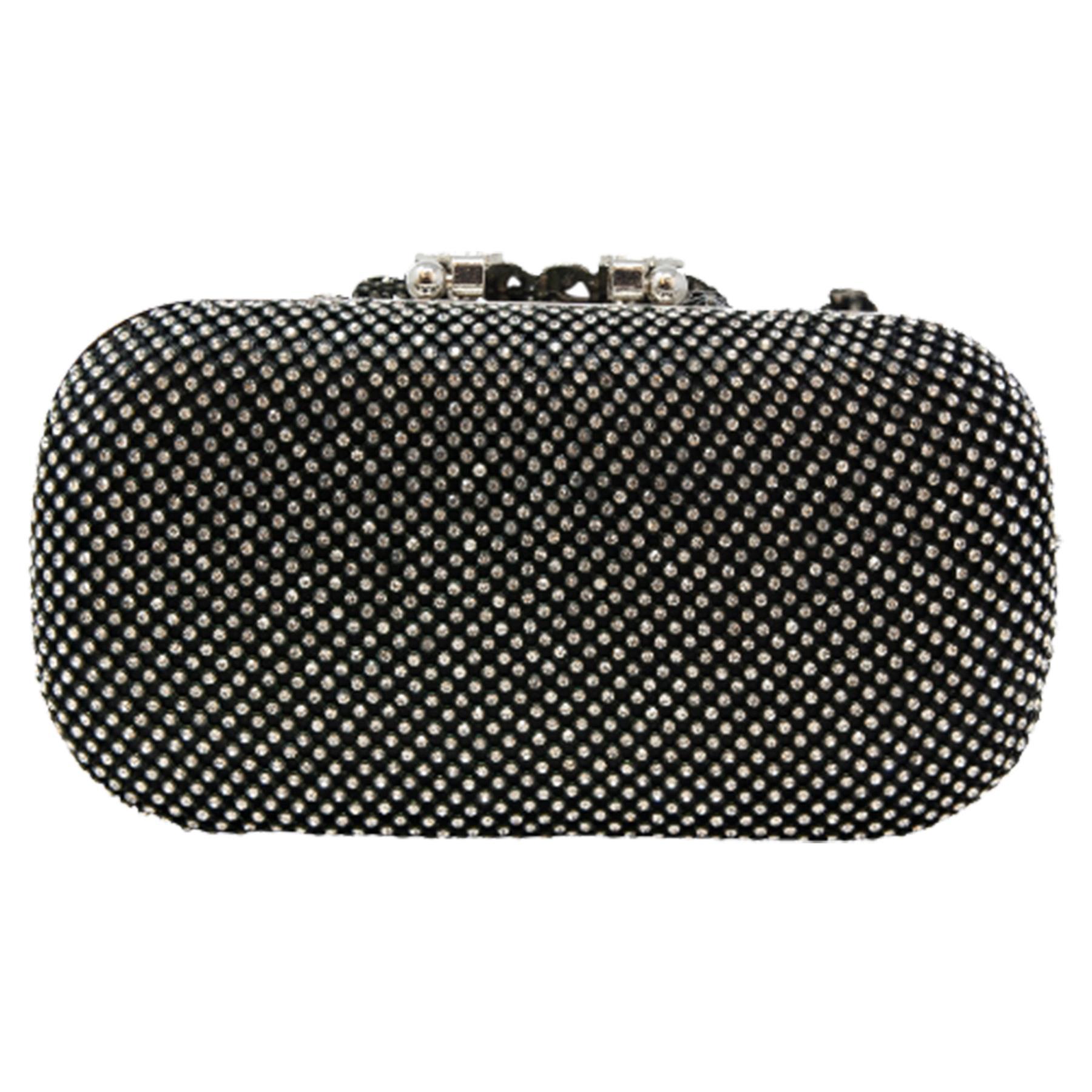 New-Women-s-Jewel-Elephant-Detail-Diamante-Chain-Box-Clutch-Bag-Purse thumbnail 5