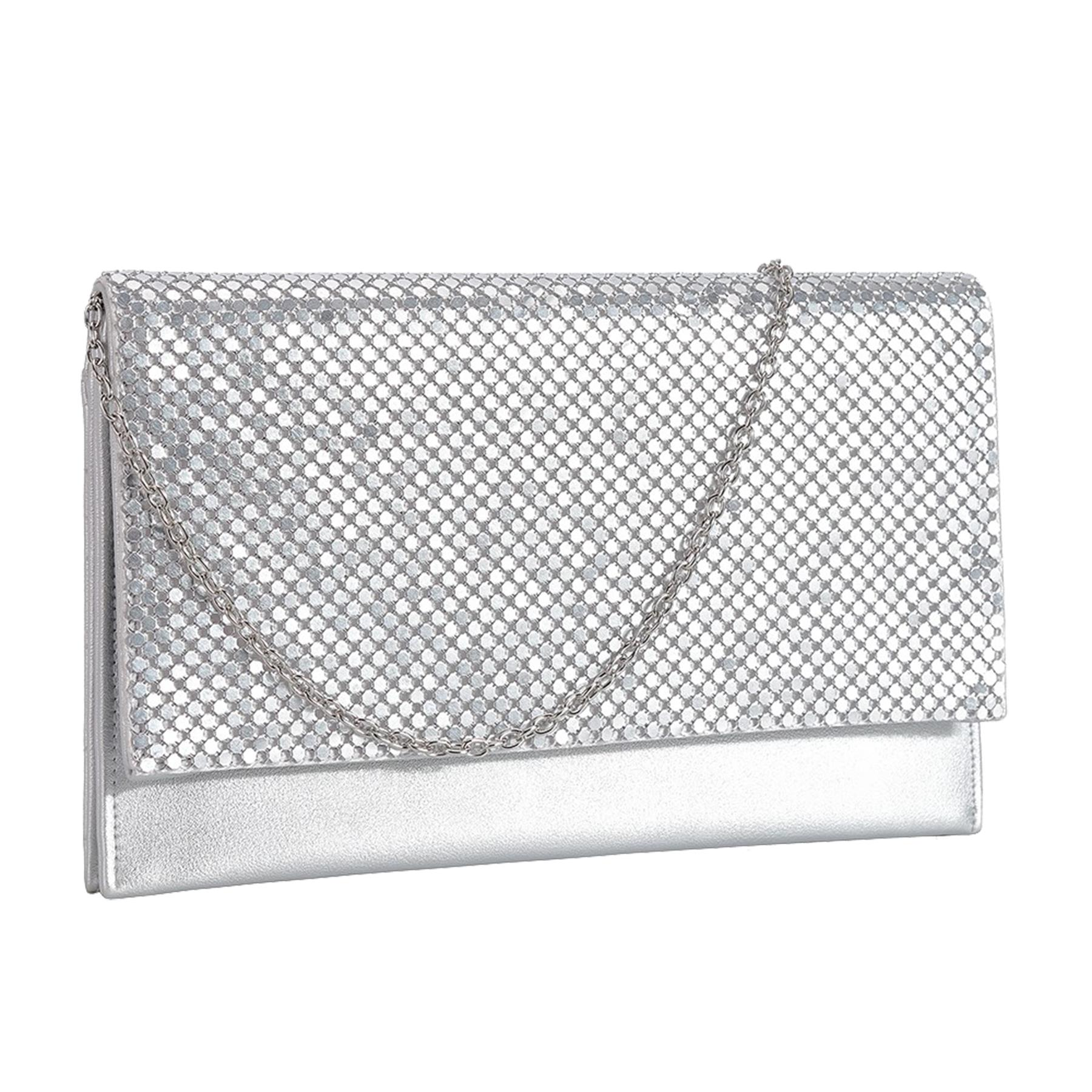 New-Ladies-Chainmail-Faux-Leather-Chain-Strap-Wedding-Clutch-Bag-Pouch thumbnail 9