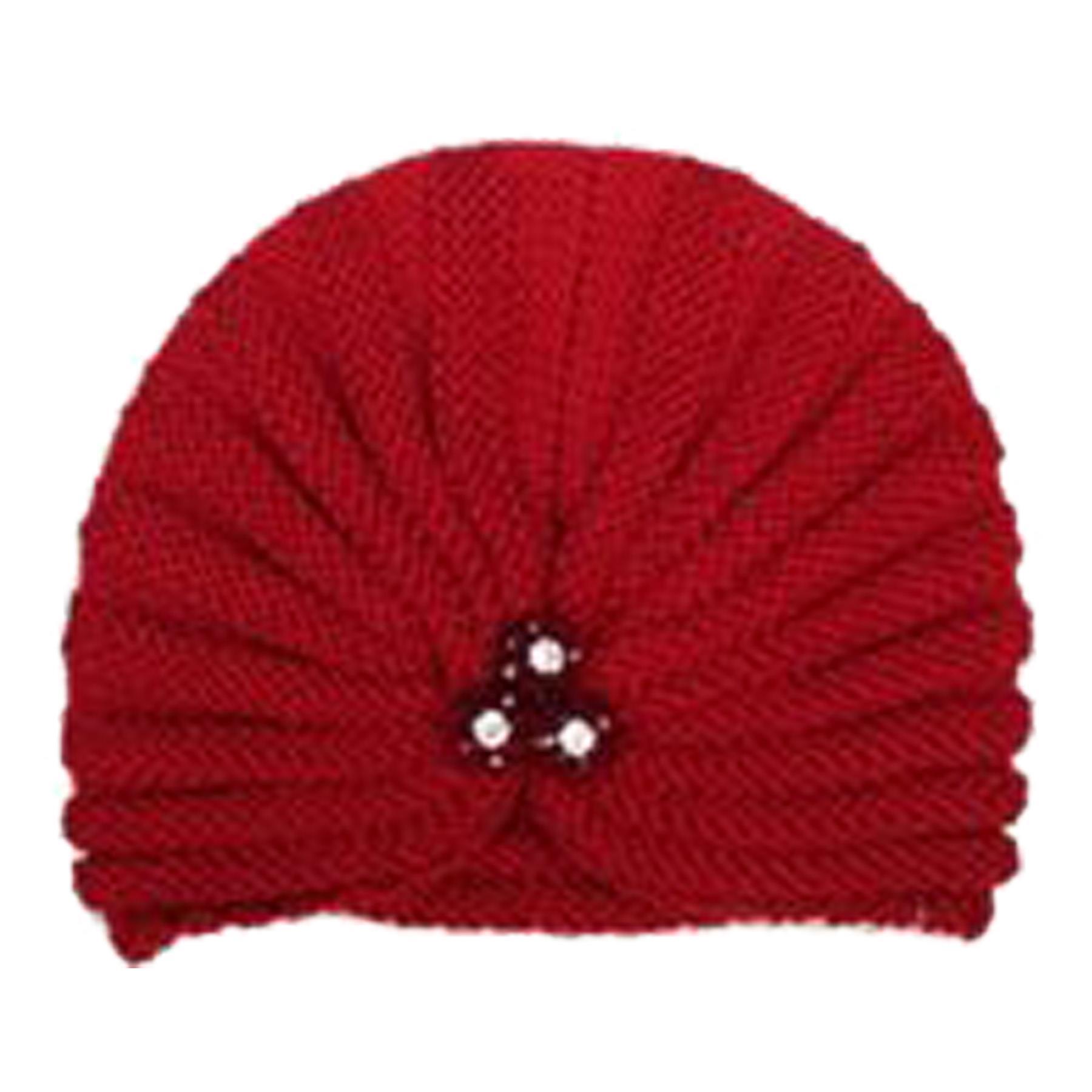 New-Women-s-Pleated-Knitted-Acrylic-Jewel-Detail-Headwear-Turban-Cap thumbnail 9