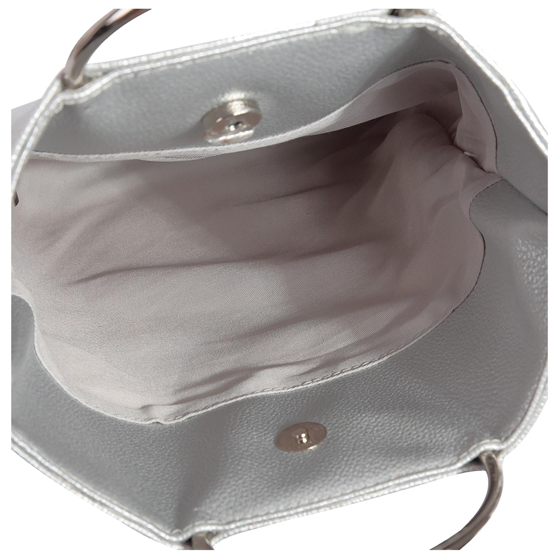 New-Women-s-Metallic-Ring-Top-Handles-Faux-Leather-Evening-Clutch-Bag thumbnail 16