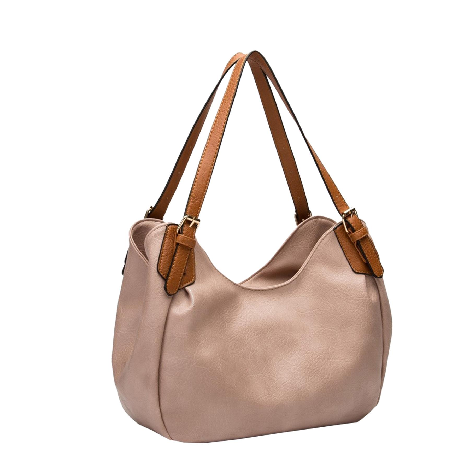 New-Ladies-Buckled-Straps-Two-Toned-Faux-Leather-Slouchy-Shoulder-Bag thumbnail 12