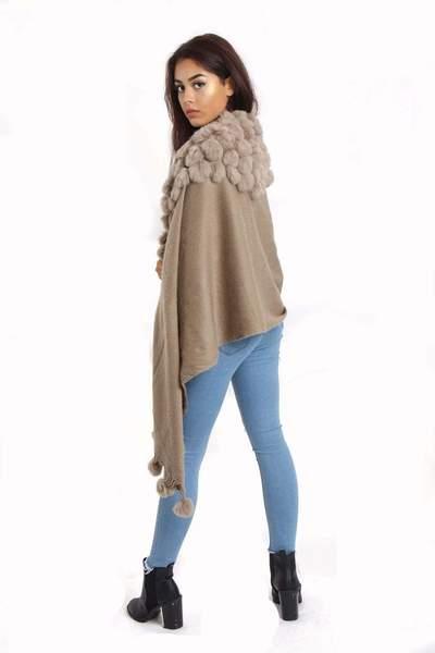 New-Women-s-Genuine-Fur-Pom-Pom-Detail-Tassels-Winter-Shawl-Cape thumbnail 5