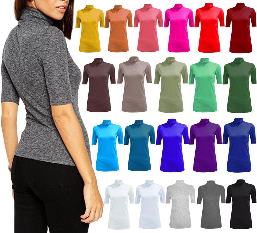 New-Women-s-Half-Sleeve-Plain-Polo-Roll-Neck-Top-Blouse-UK-8-26