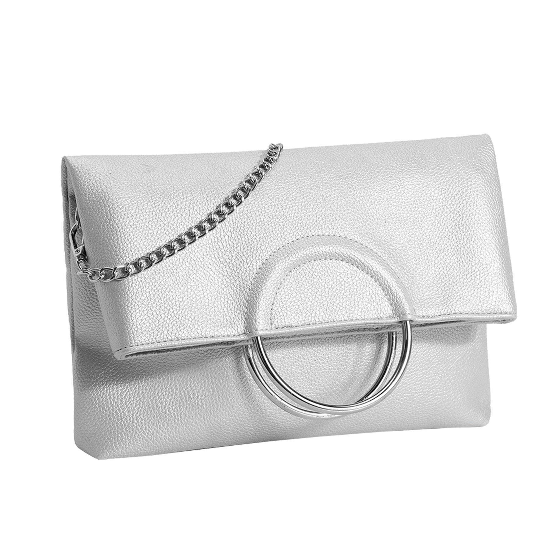 New-Women-s-Metallic-Ring-Top-Handles-Faux-Leather-Evening-Clutch-Bag thumbnail 15