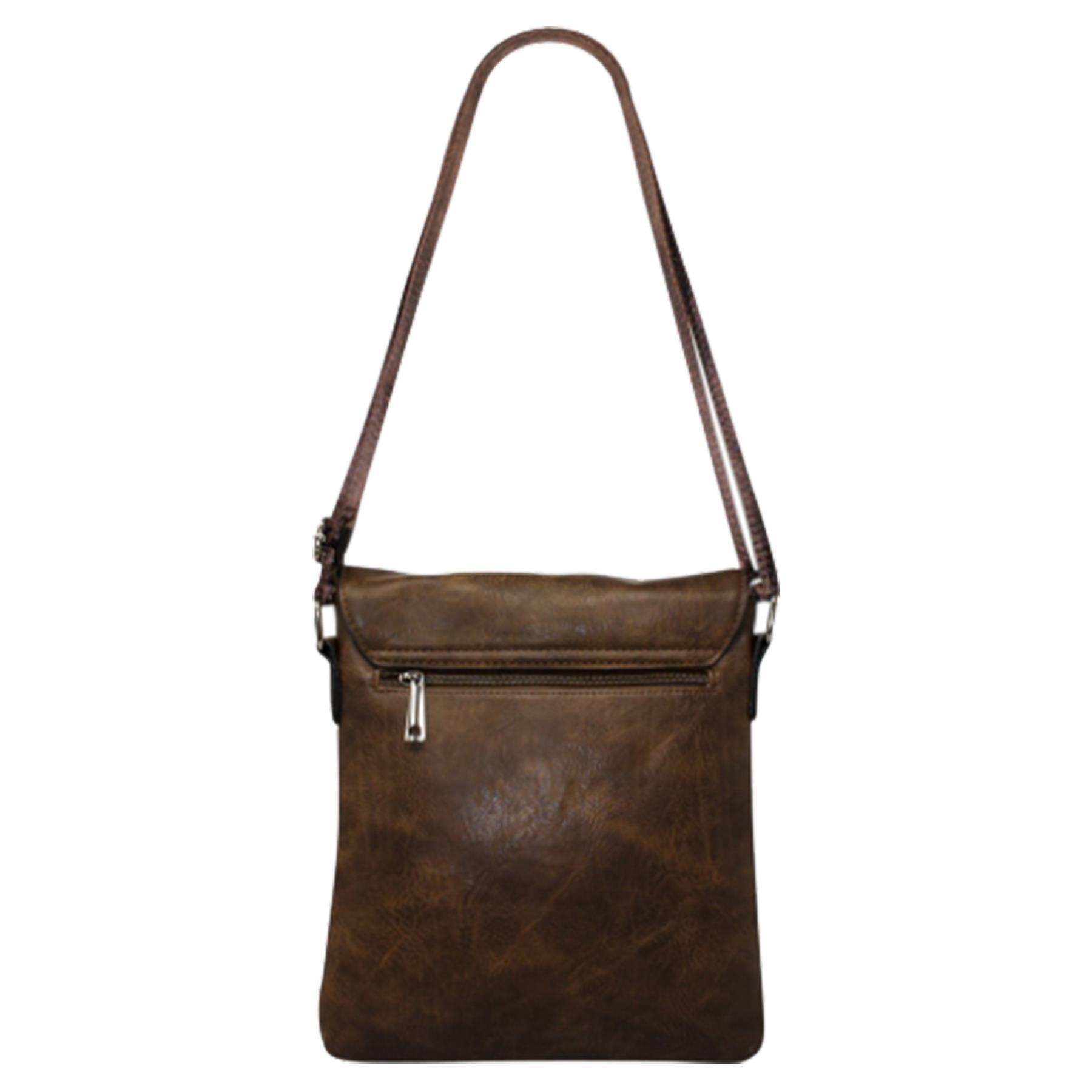 New-Plain-Faux-Leather-Men-s-Travel-Casual-Flap-Over-Messenger-Bag thumbnail 12