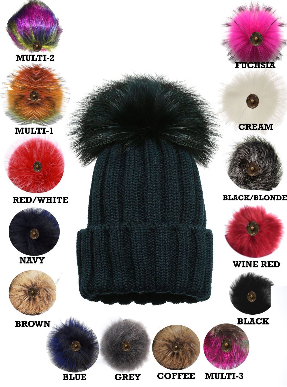 New Ladies Knitted Detachable Faux Fur Pom Pom Customizable Bobble ... 2d7b3924ed8