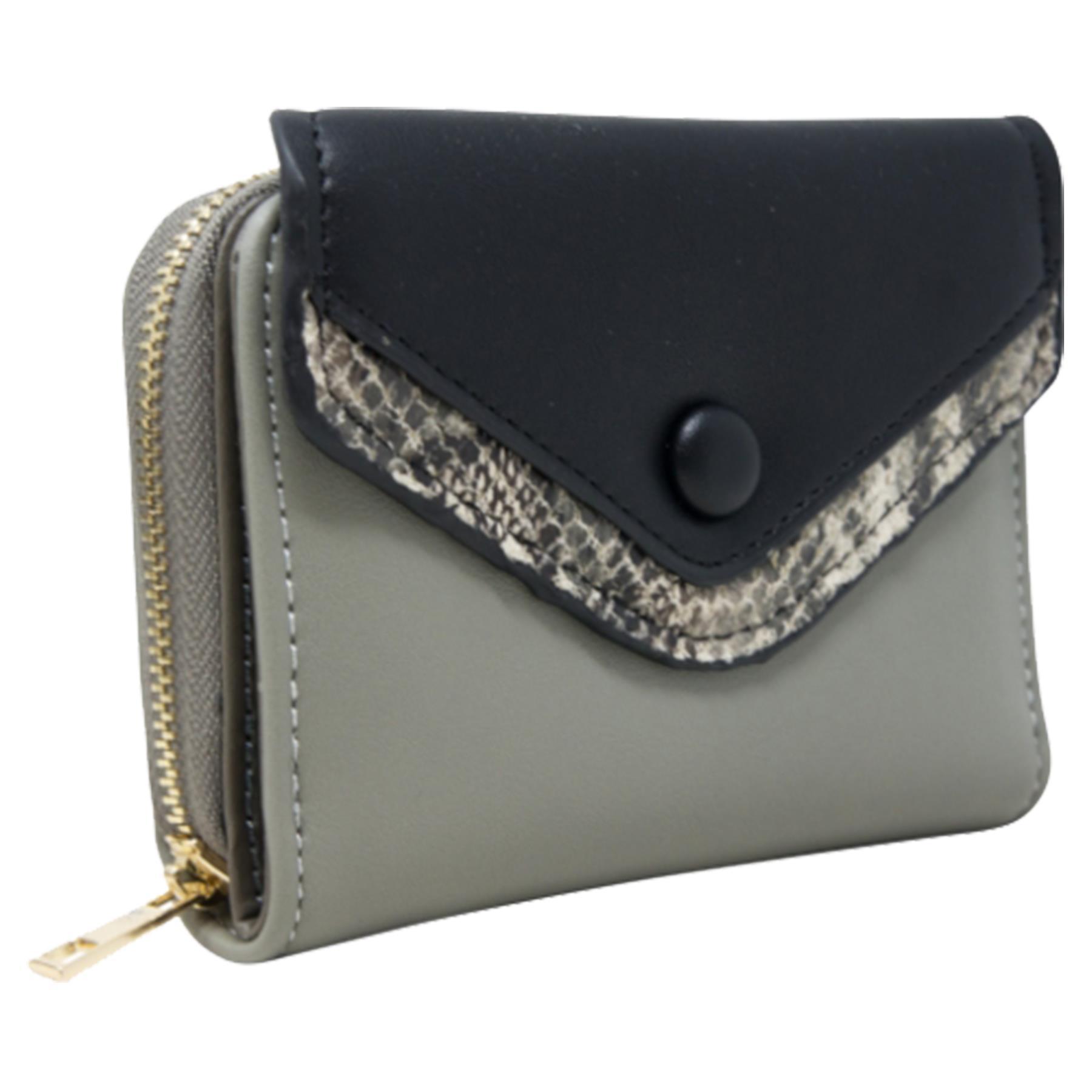 New-Ladies-Multicoloured-Envelope-Faux-Leather-Reptile-Detail-Purse thumbnail 19