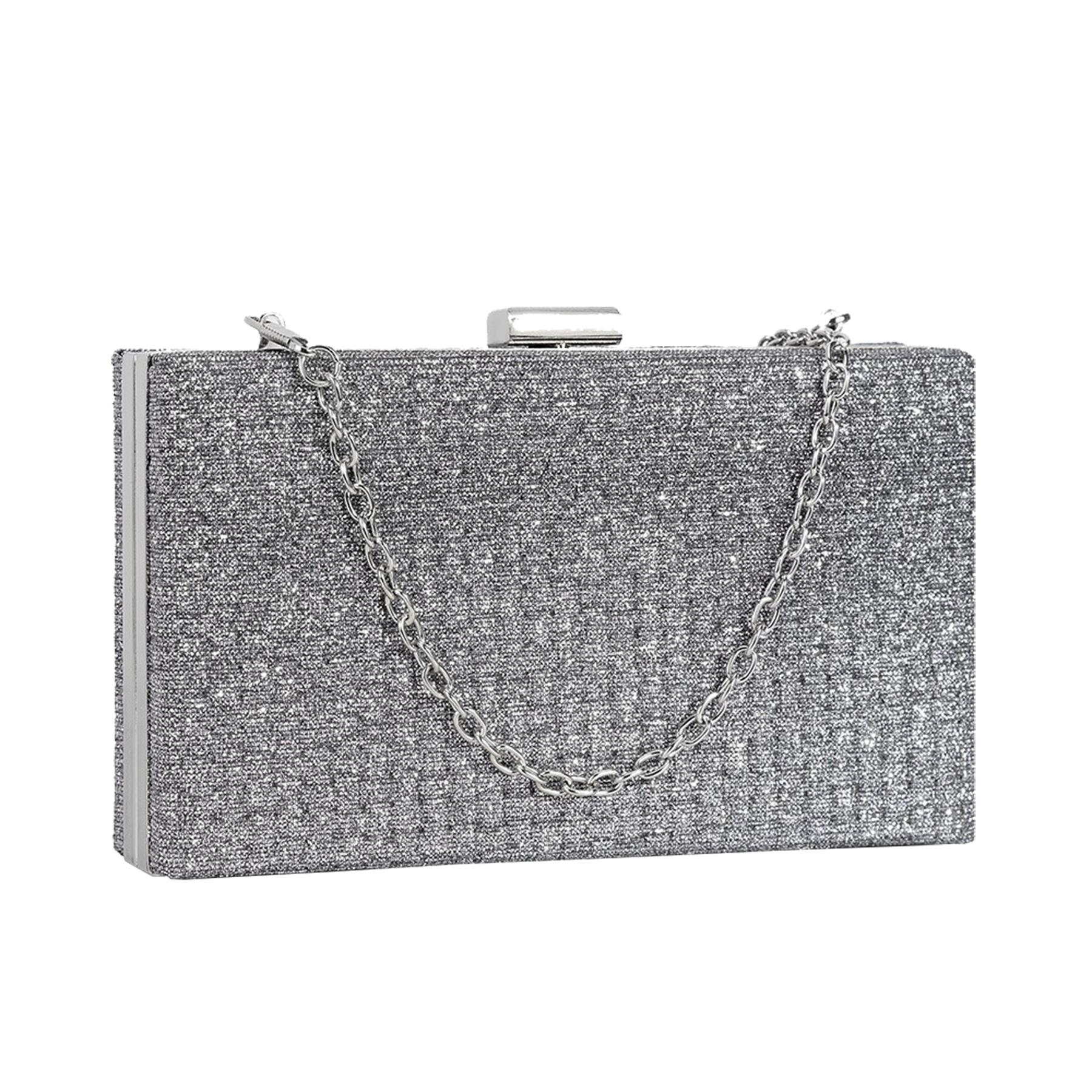 New-Sparkly-Shimmer-Glitter-Chain-Ladies-Hard-Compact-Bridal-Clutch-Bag-Purse thumbnail 9