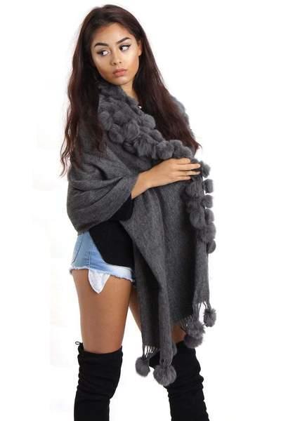 New-Women-s-Genuine-Fur-Pom-Pom-Detail-Tassels-Winter-Shawl-Cape thumbnail 13