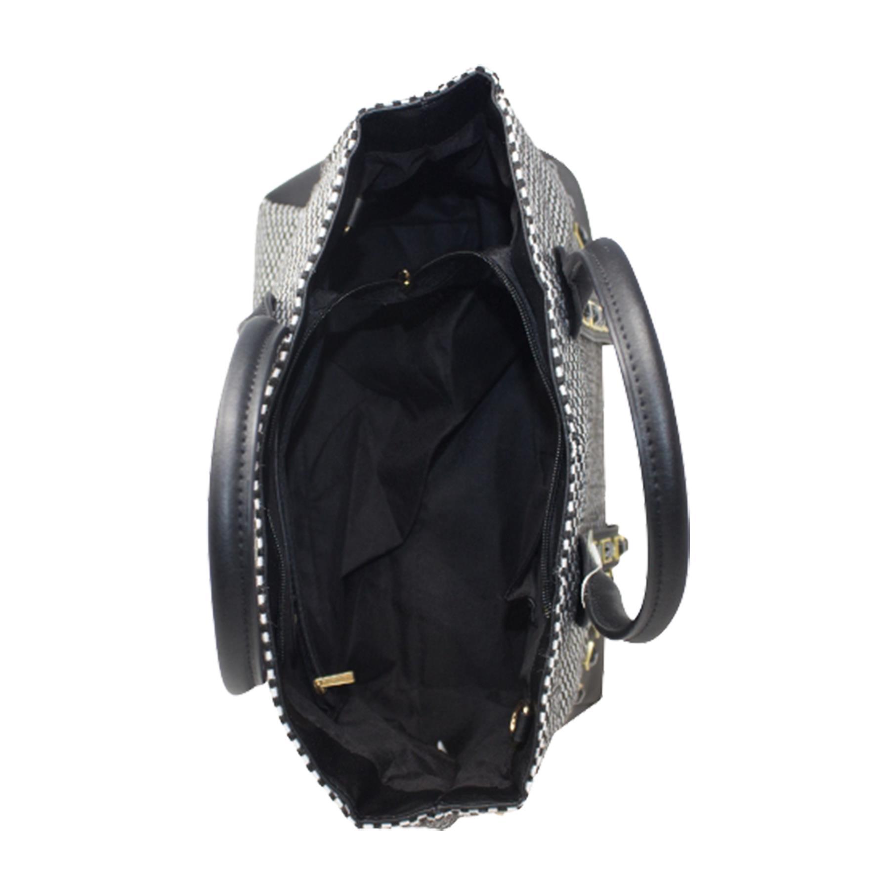 New-Women-s-Small-Check-Pattern-Studded-Design-Tote-Bag-Handbag thumbnail 7