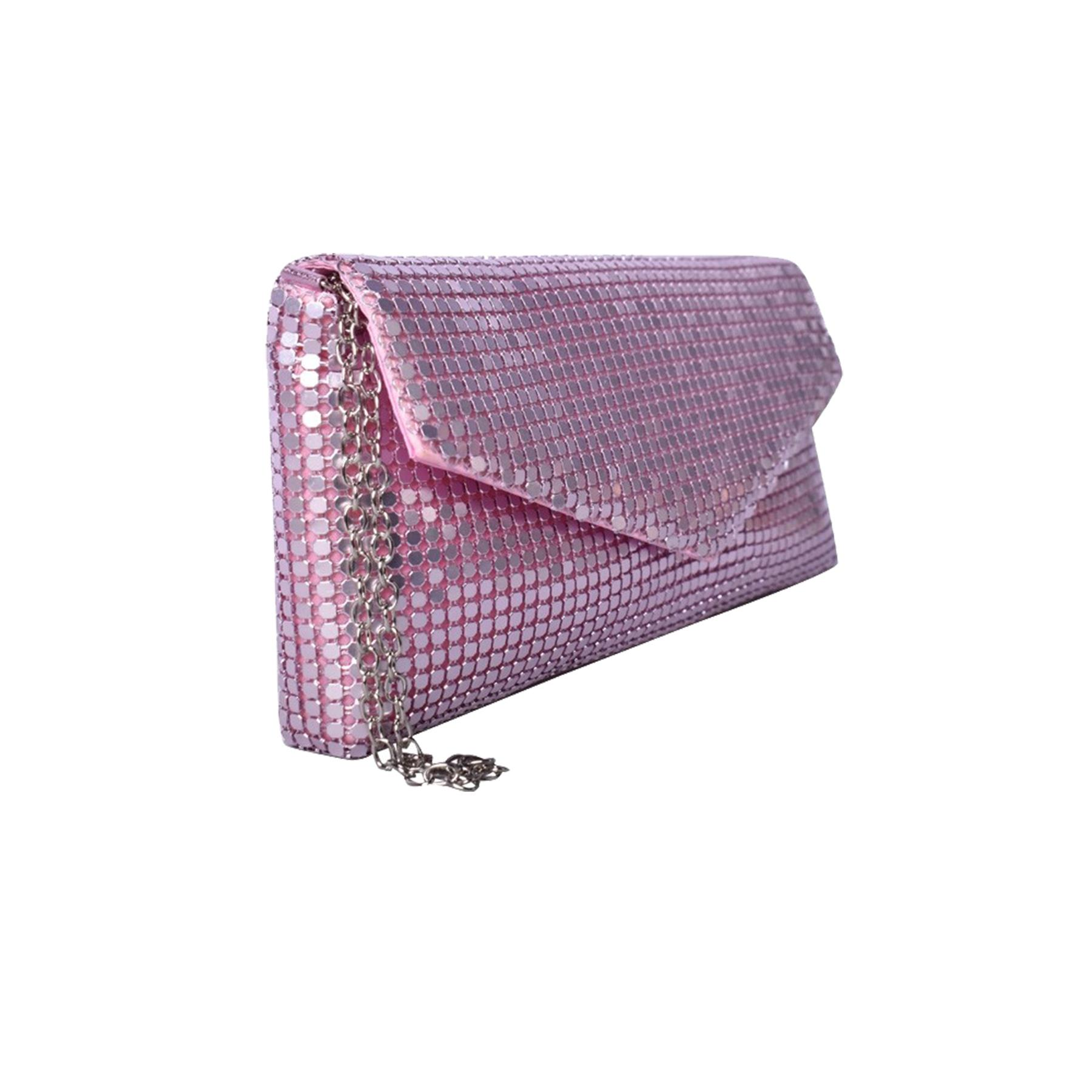 New-Ladies-Chainmail-Faux-Leather-Chain-Strap-Wedding-Clutch-Bag-Pouch thumbnail 24