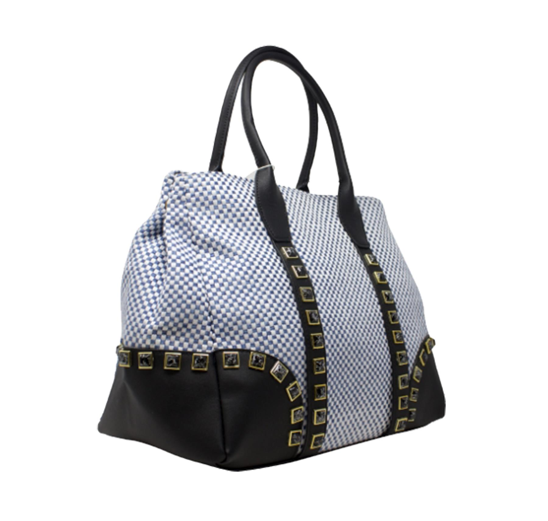 New-Women-s-Small-Check-Pattern-Studded-Design-Tote-Bag-Handbag thumbnail 9