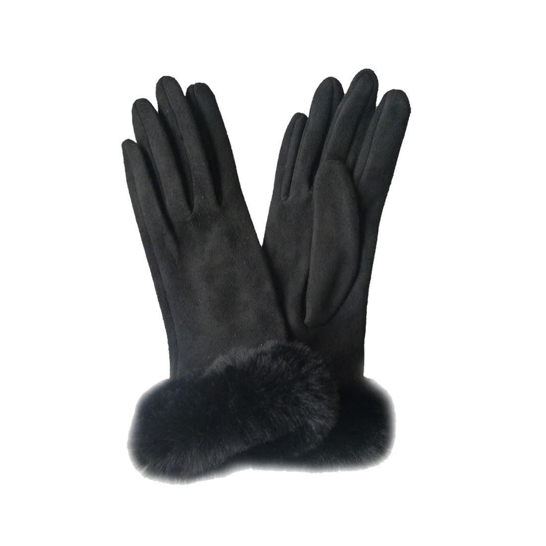 0a1385bd79ac9 New Faux Fur Cuff Pom Pom Wool Suede Ladies Elegant Winter Gloves   eBay