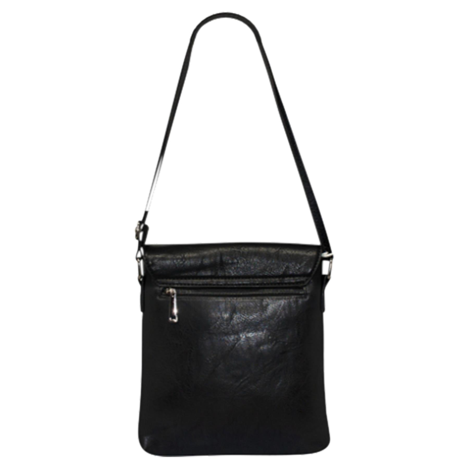 New-Plain-Faux-Leather-Men-s-Travel-Casual-Flap-Over-Messenger-Bag thumbnail 4