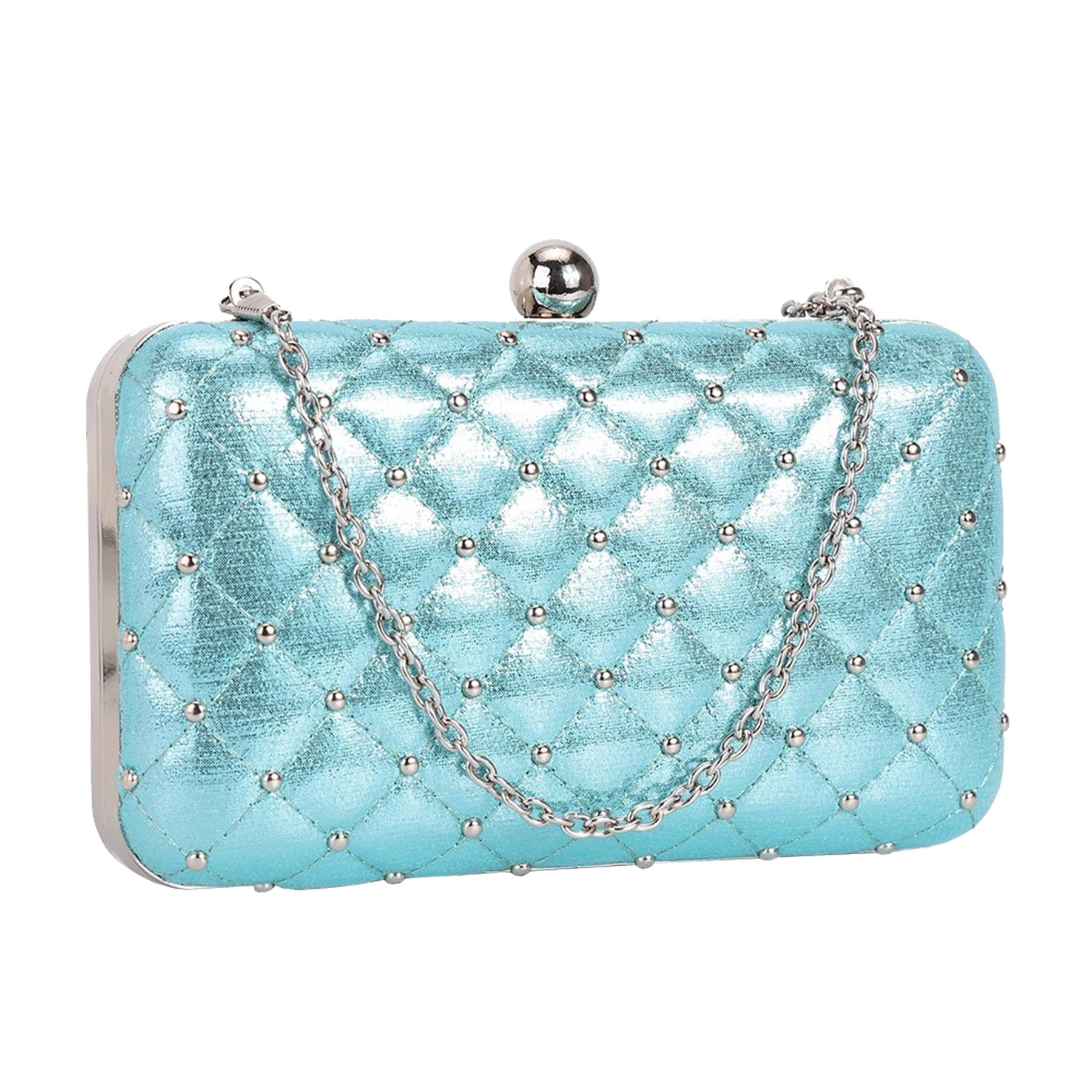 New-Women-s-Quilted-Studded-Faux-Leather-Party-Bridal-Prom-Box-Clutch-Bag thumbnail 3