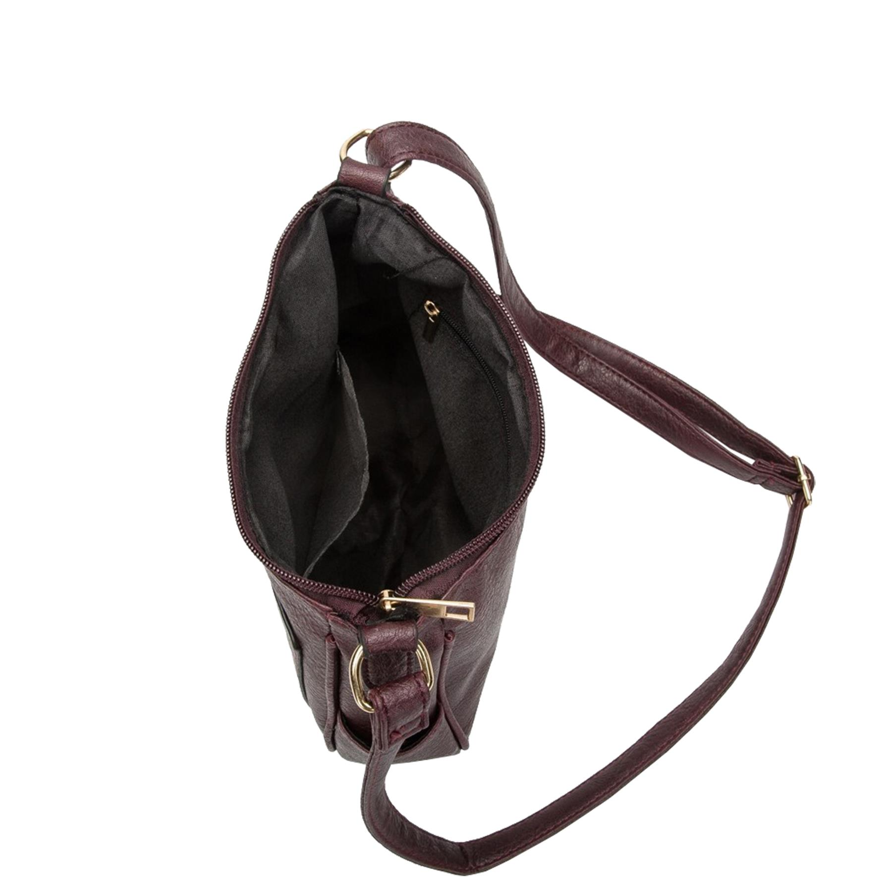 New-Women-s-Front-Zip-Faux-Leather-Basic-Small-Crossbody-Messenger-Bag thumbnail 10