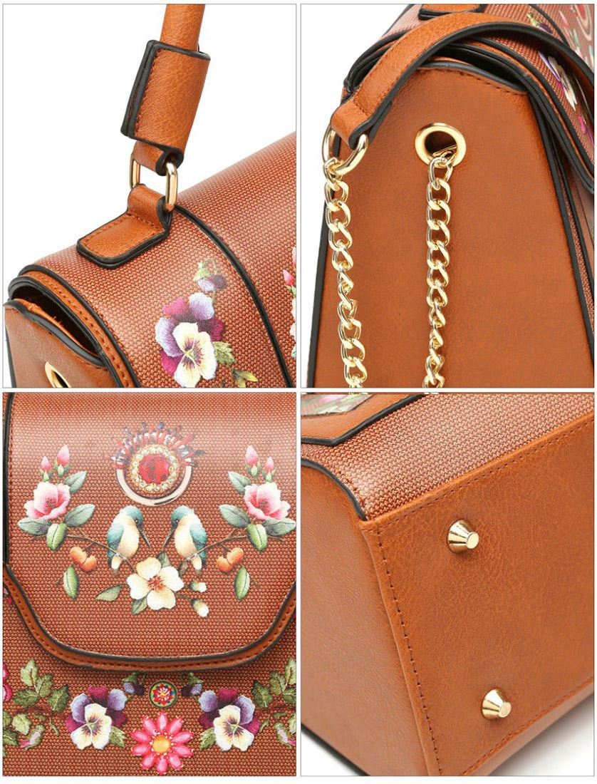 New-Synthetic-Leather-Kingfisher-Flower-Print-Ladies-Tote-Bag-Handbag thumbnail 5