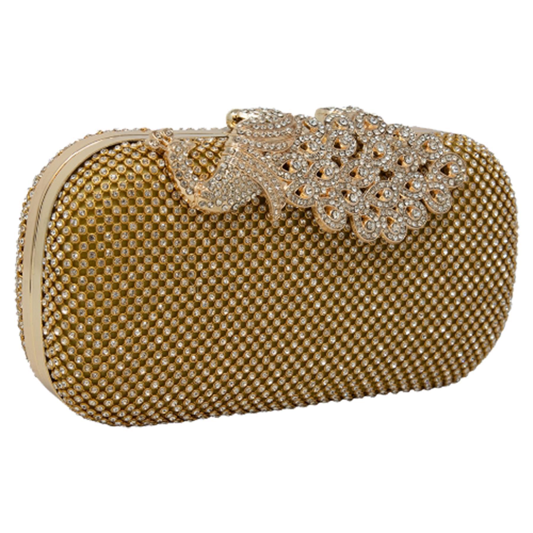 New-Women-s-Jewel-Elephant-Detail-Diamante-Chain-Box-Clutch-Bag-Purse thumbnail 8