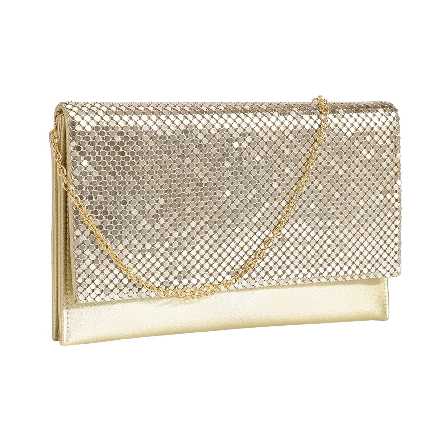 New-Ladies-Chainmail-Faux-Leather-Chain-Strap-Wedding-Clutch-Bag-Pouch thumbnail 6