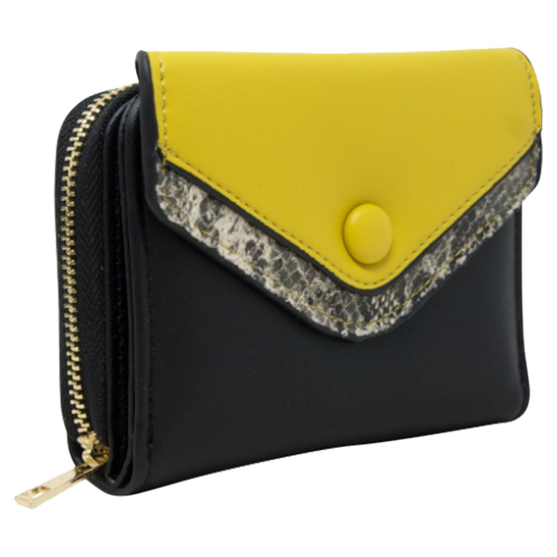 New-Ladies-Multicoloured-Envelope-Faux-Leather-Reptile-Detail-Purse thumbnail 7