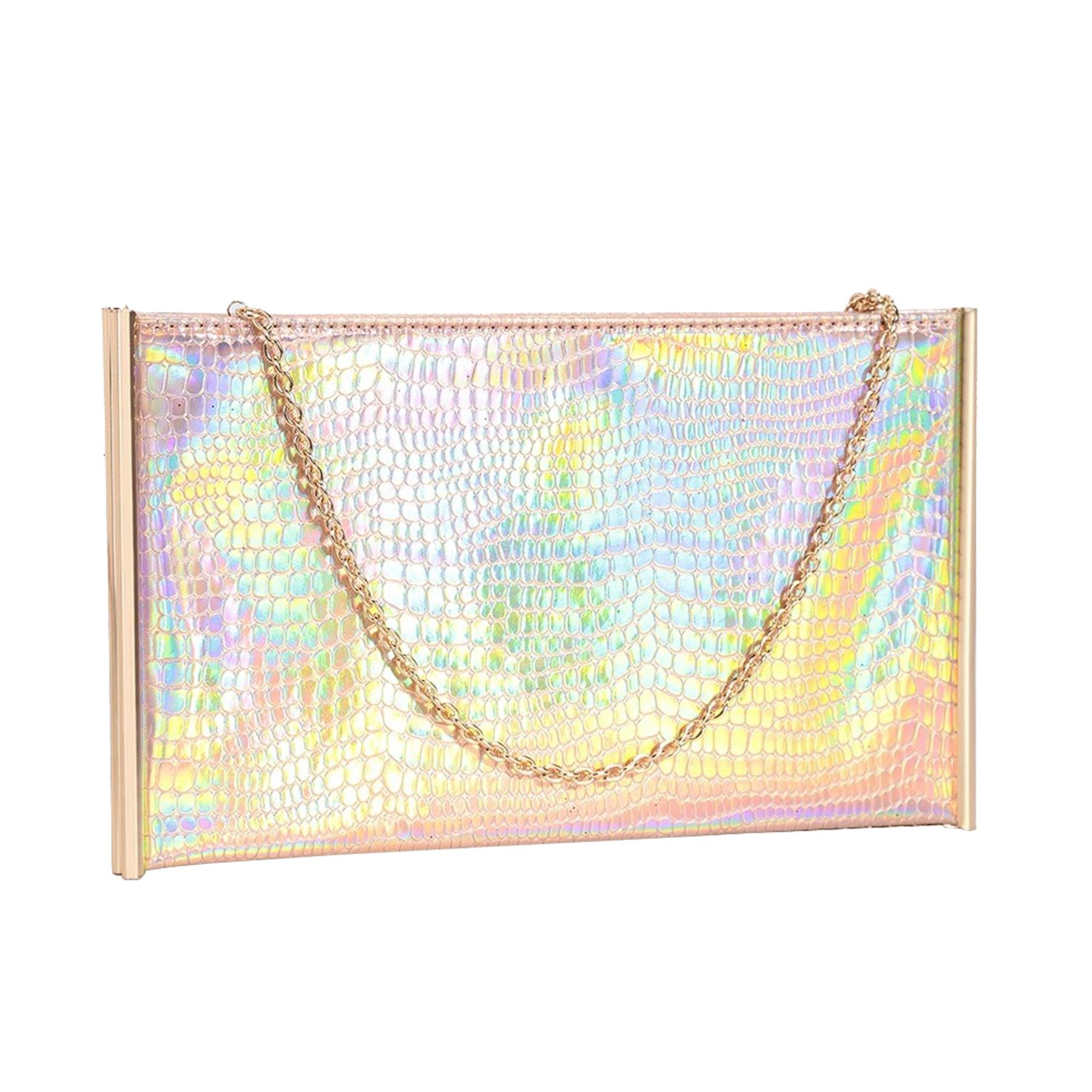 New-Ladies-Metallic-Trim-Velvet-Shimmer-Hologram-Croc-Evening-Clutch-Bag thumbnail 15