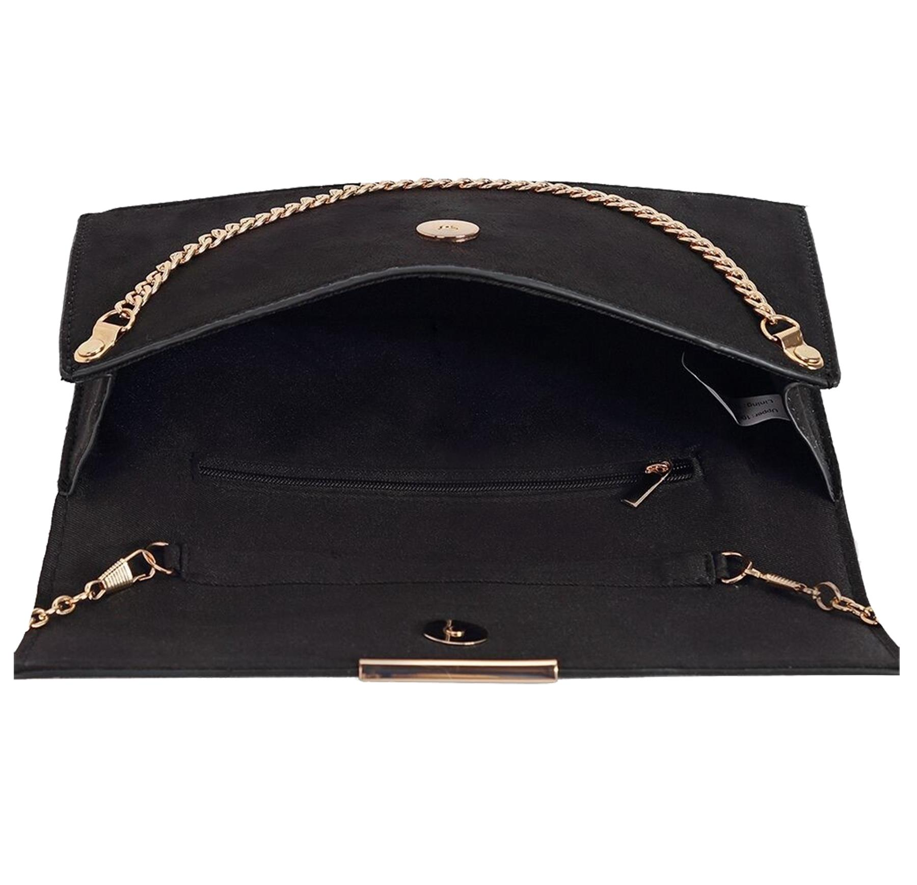 New-Synthetic-Suede-Metallic-Trim-Chain-Detail-Evening-Classic-Clutch-Bag thumbnail 4