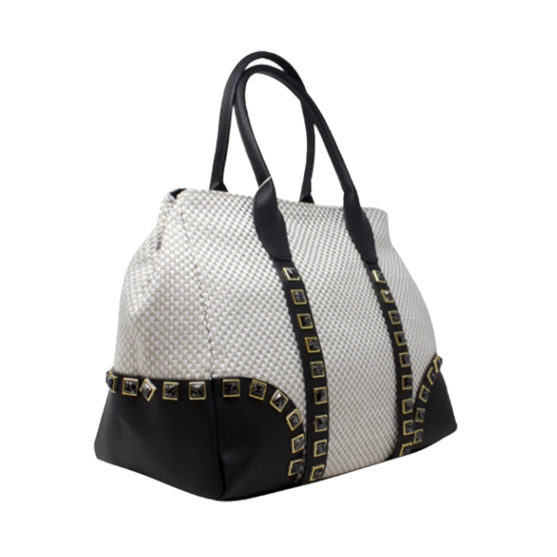 New-Women-s-Small-Check-Pattern-Studded-Design-Tote-Bag-Handbag thumbnail 13