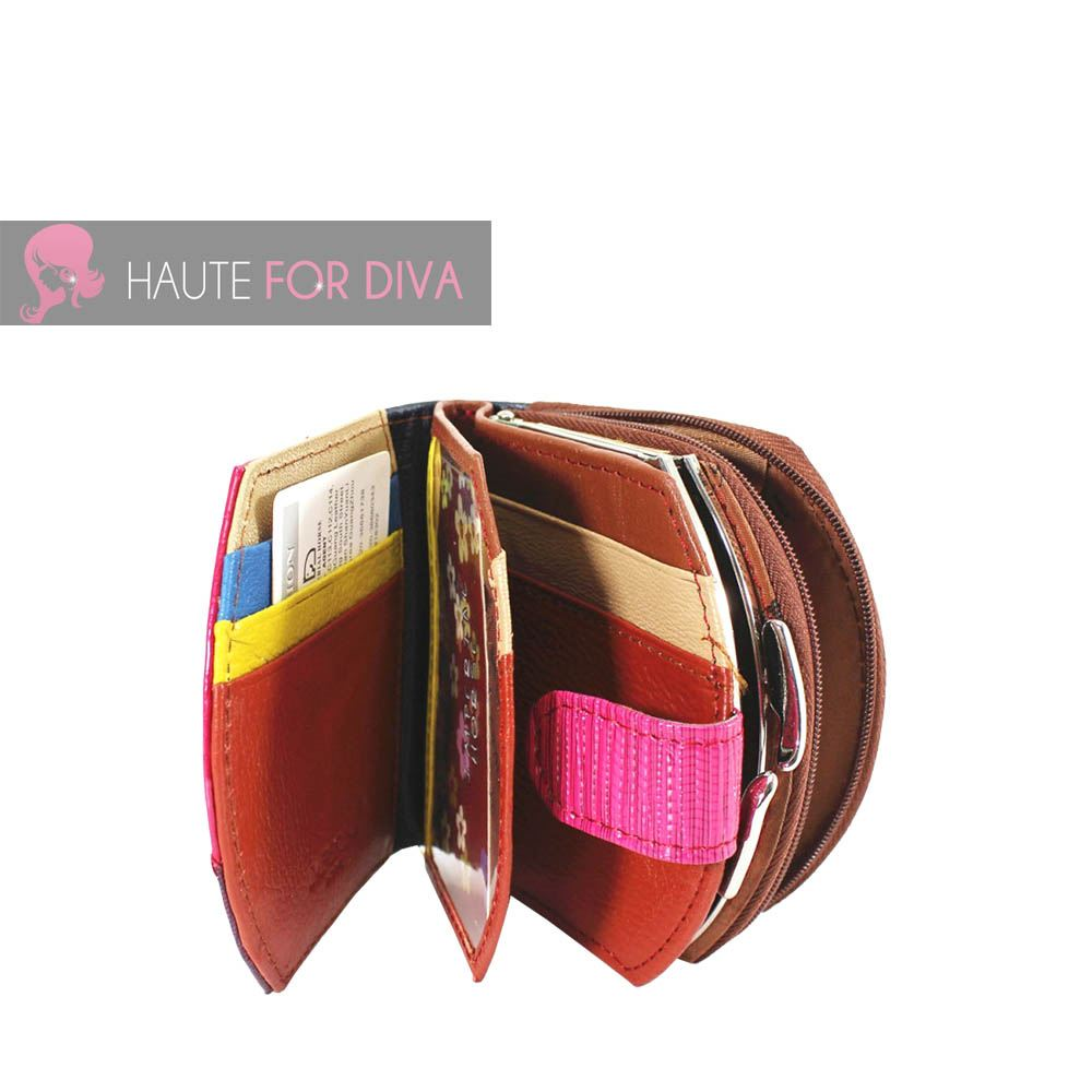 WOMENS-NEW-SHINY-GENUINE-LEATHER-STITCHING-PATCH-DESIGN-MULTICOLOUR-PURSE-WALLET thumbnail 3