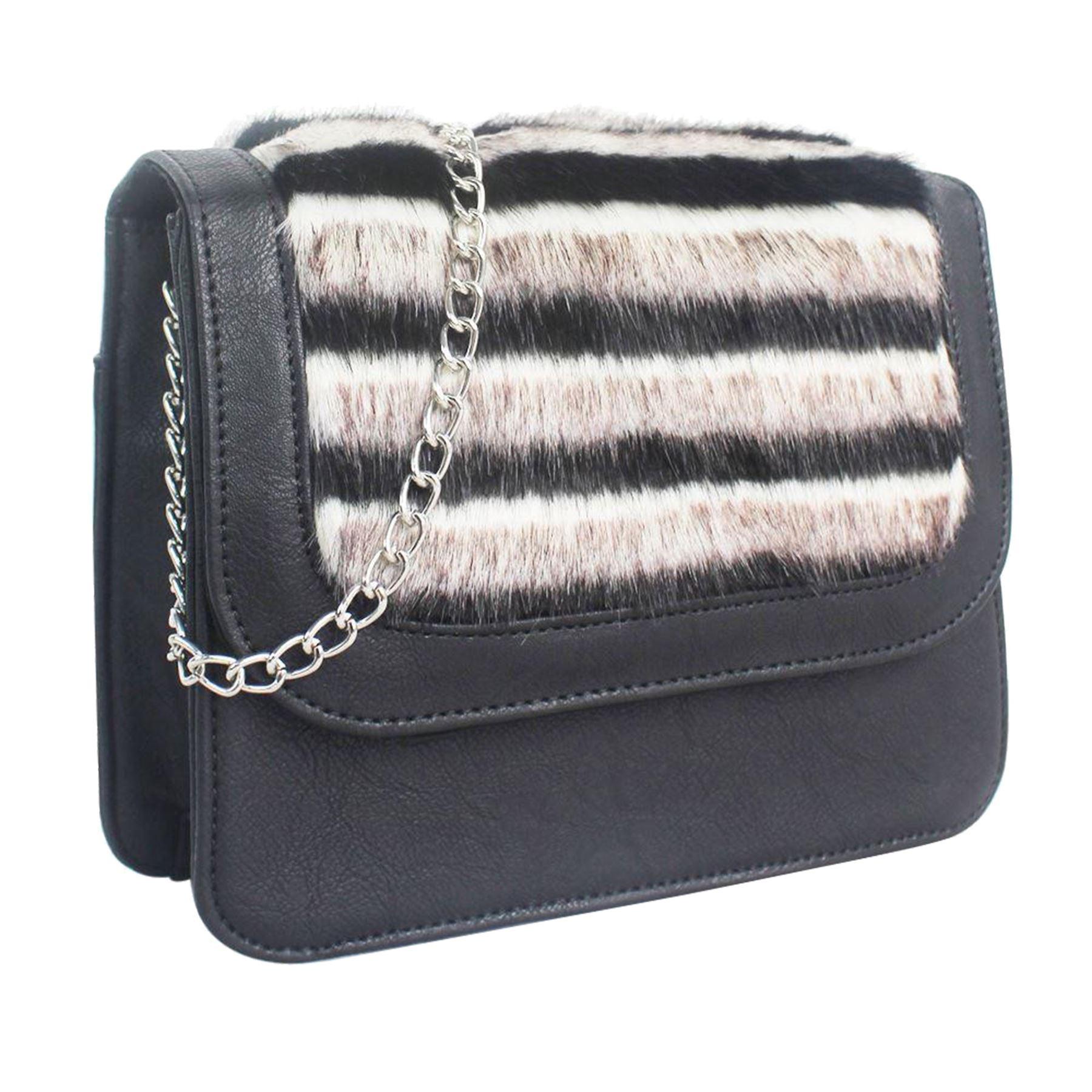 Handbag New Shoulder beige Faux Ladies Nero Silver Leather bordeaux nero nero Fur Chain Panel qxZ8wSqBr