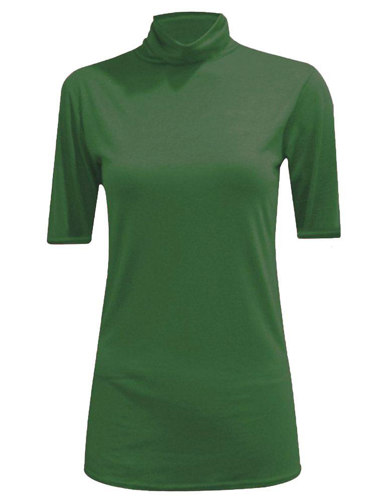 New-Women-s-Half-Sleeve-Plain-Polo-Roll-Neck-Top-Blouse-UK-8-26 thumbnail 3