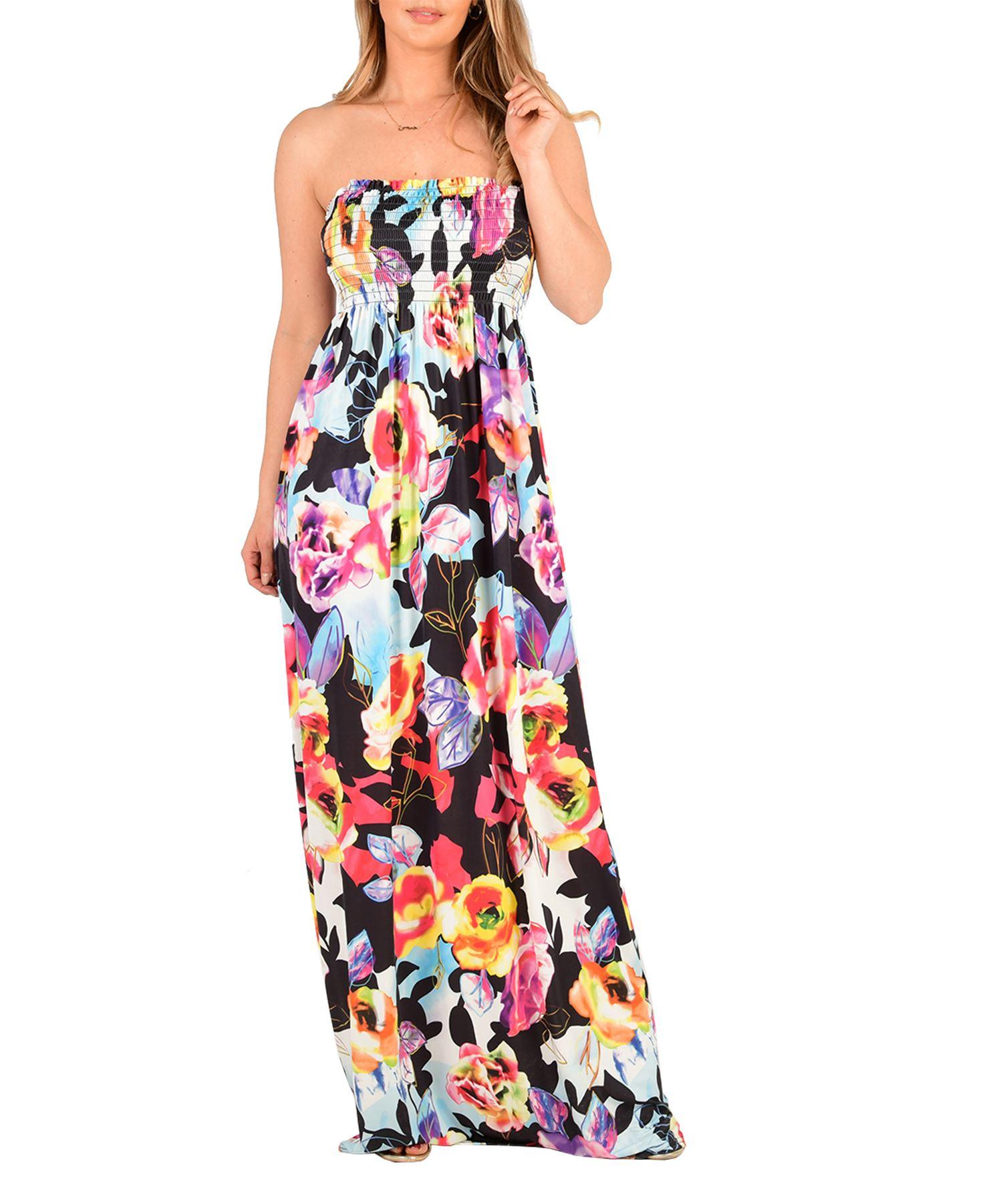 8280371ef87 New Floral Boob Tube Bandeau Ladies Summer Sheering Dress Top UK 8 ...
