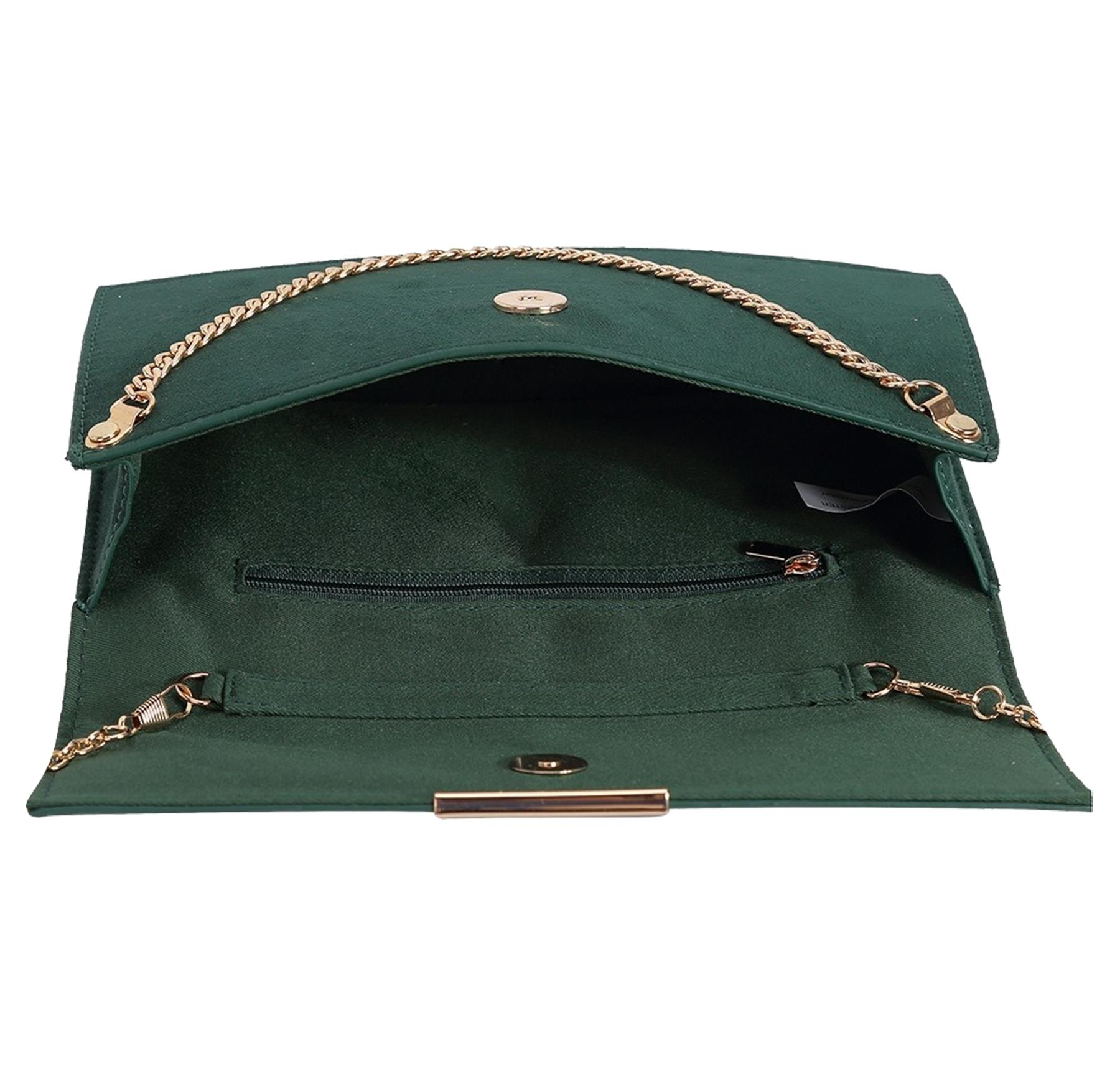 New-Synthetic-Suede-Metallic-Trim-Chain-Detail-Evening-Classic-Clutch-Bag thumbnail 7