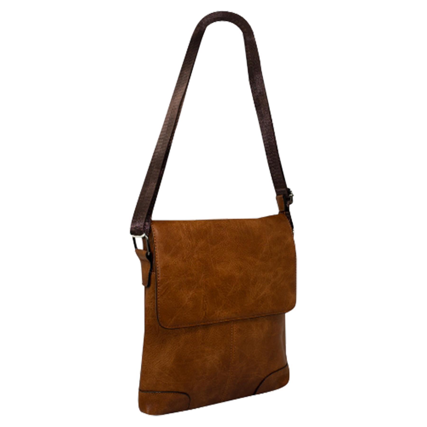 New-Plain-Faux-Leather-Men-s-Travel-Casual-Flap-Over-Messenger-Bag thumbnail 7