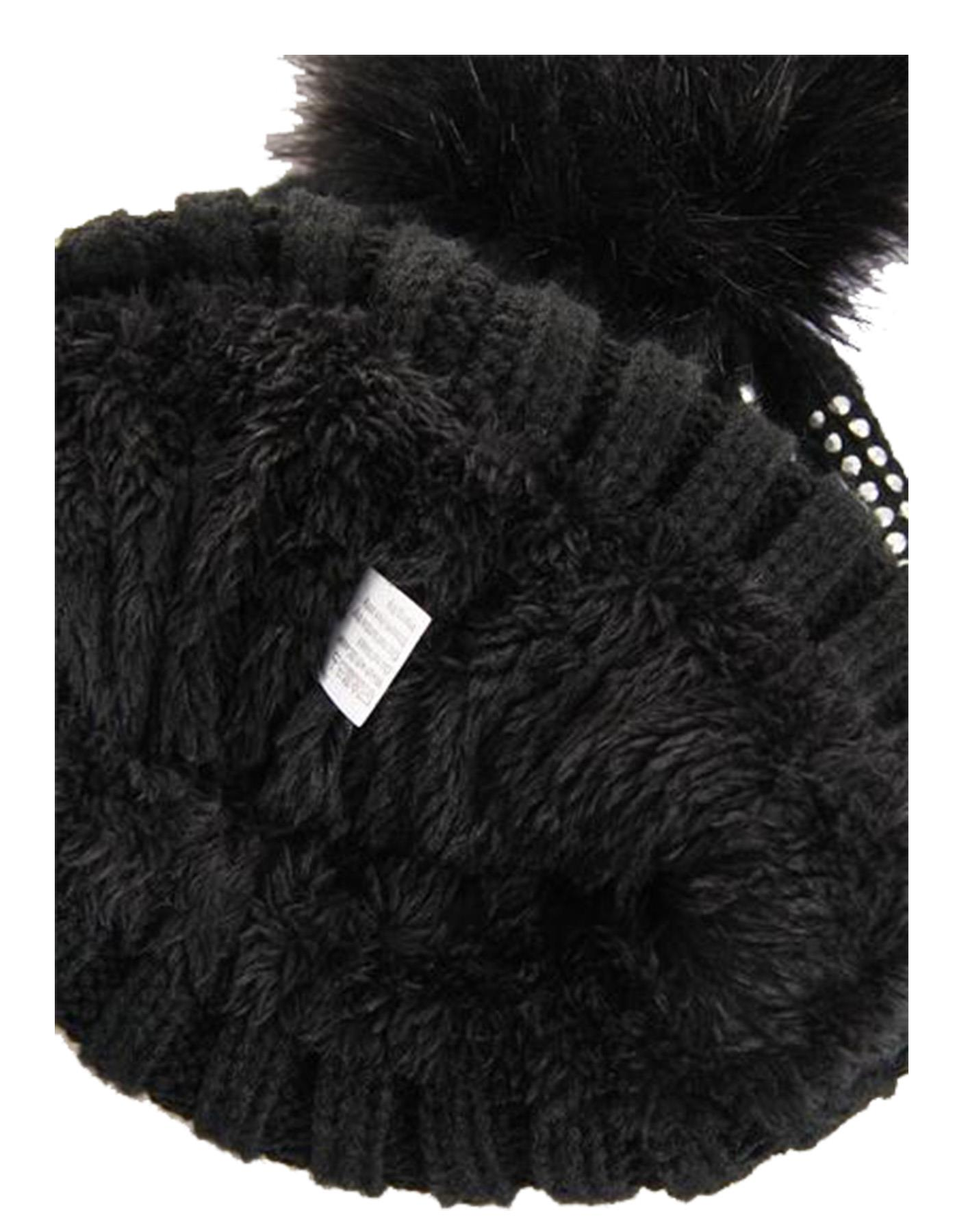 New-Rhinestone-Gem-Embellishment-Synthetic-Fur-Pom-Pom-Women-s-Beanie-Hat thumbnail 8