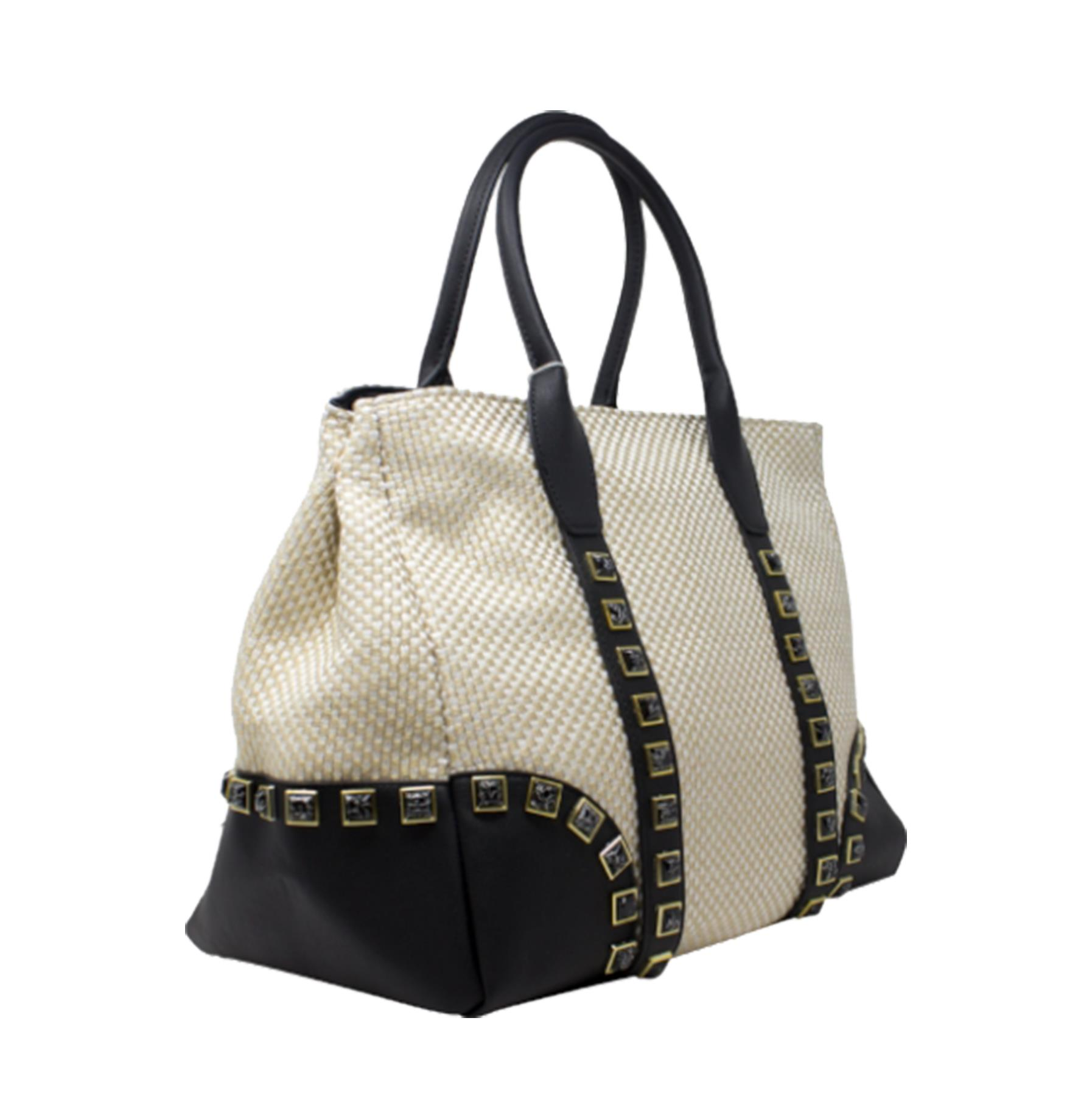 New-Women-s-Small-Check-Pattern-Studded-Design-Tote-Bag-Handbag thumbnail 15